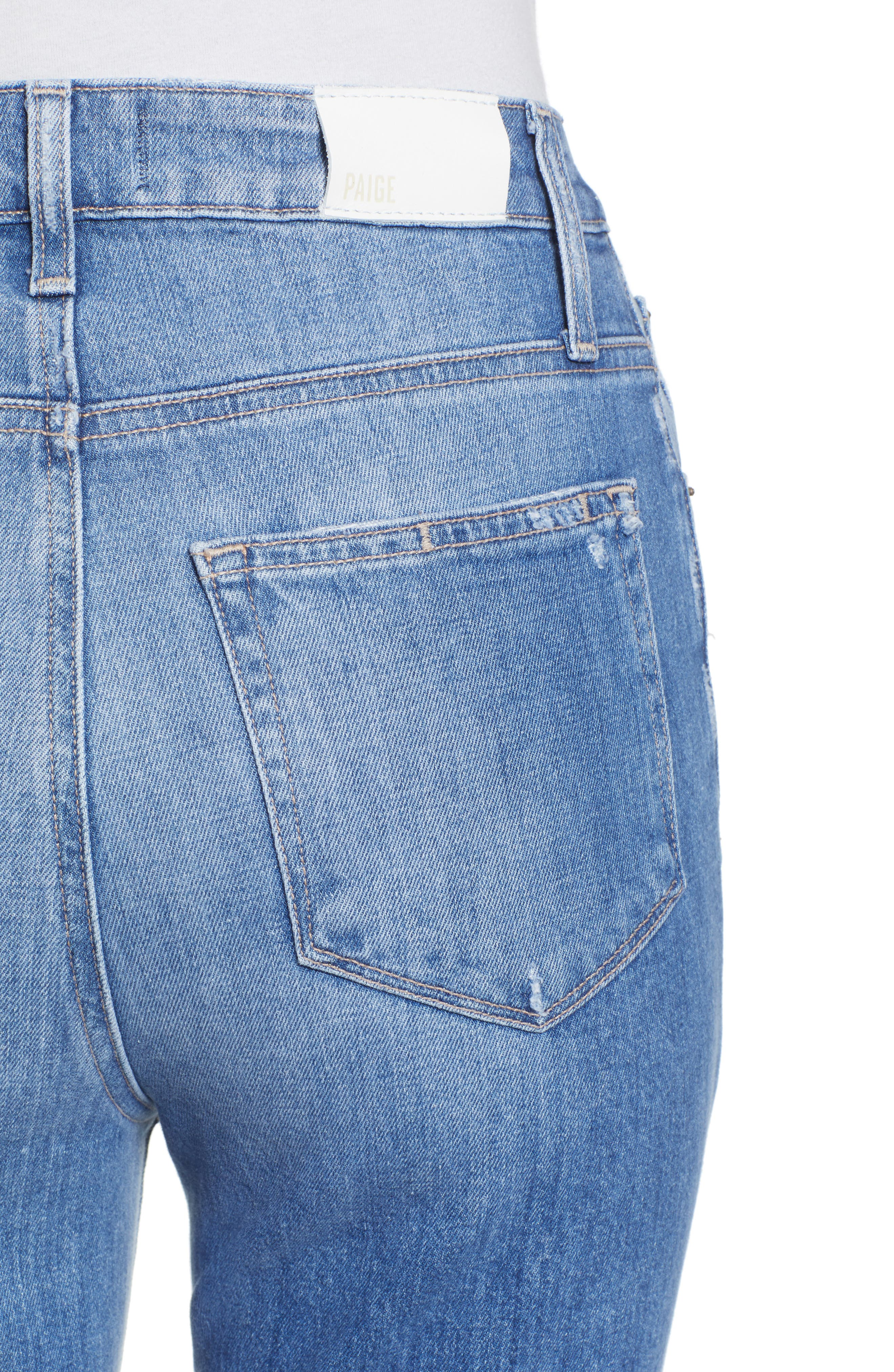 Sarah Ripped High Waist Ankle Straight Leg Jeans,                             Alternate thumbnail 4, color,                             BROOKVIEW DESTRUCTED