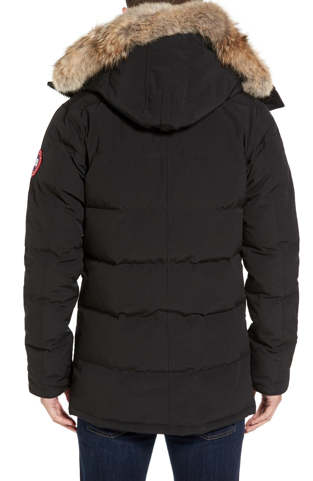 'Carson' Slim Fit Hooded Packable Parka with Genuine Coyote Fur Trim,                             Alternate thumbnail 7, color,                             BLACK
