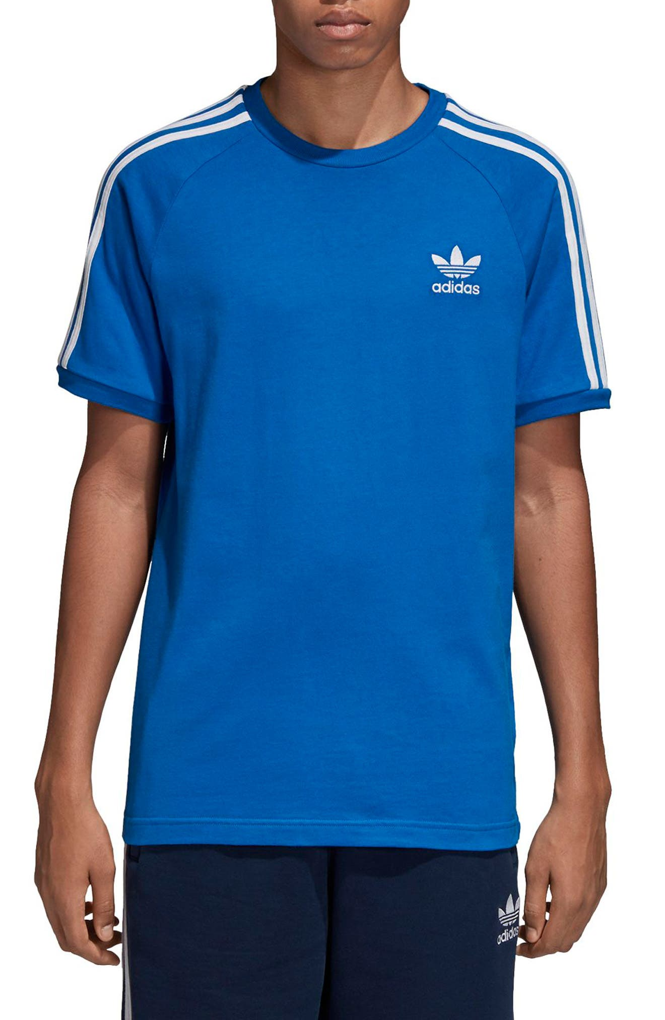 adidas 3-Stripes T-Shirt,                         Main,                         color, BLUEBIRD
