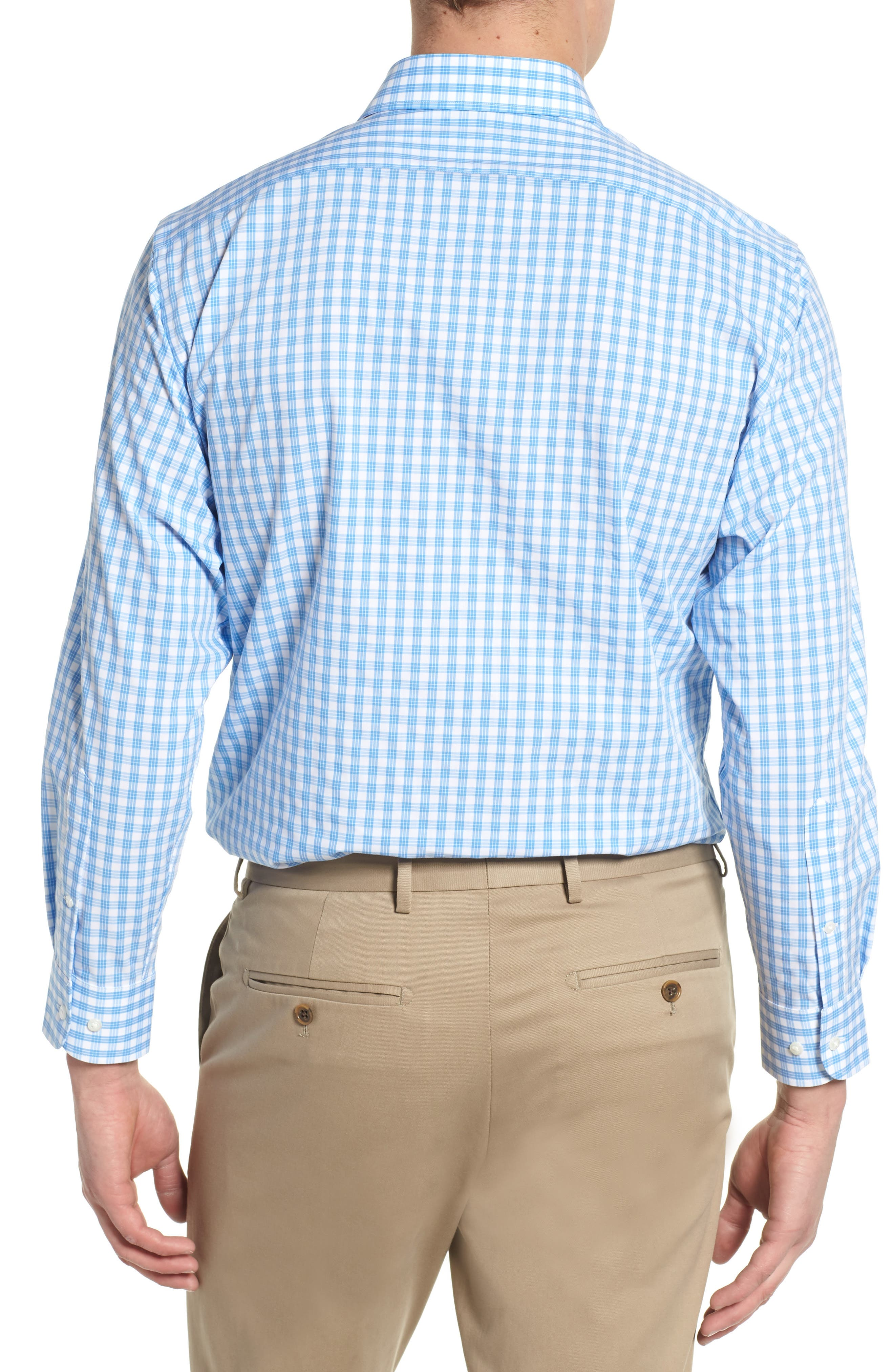 Tech Smart Traditional Fit Stretch Check Dress Shirt,                             Alternate thumbnail 5, color,