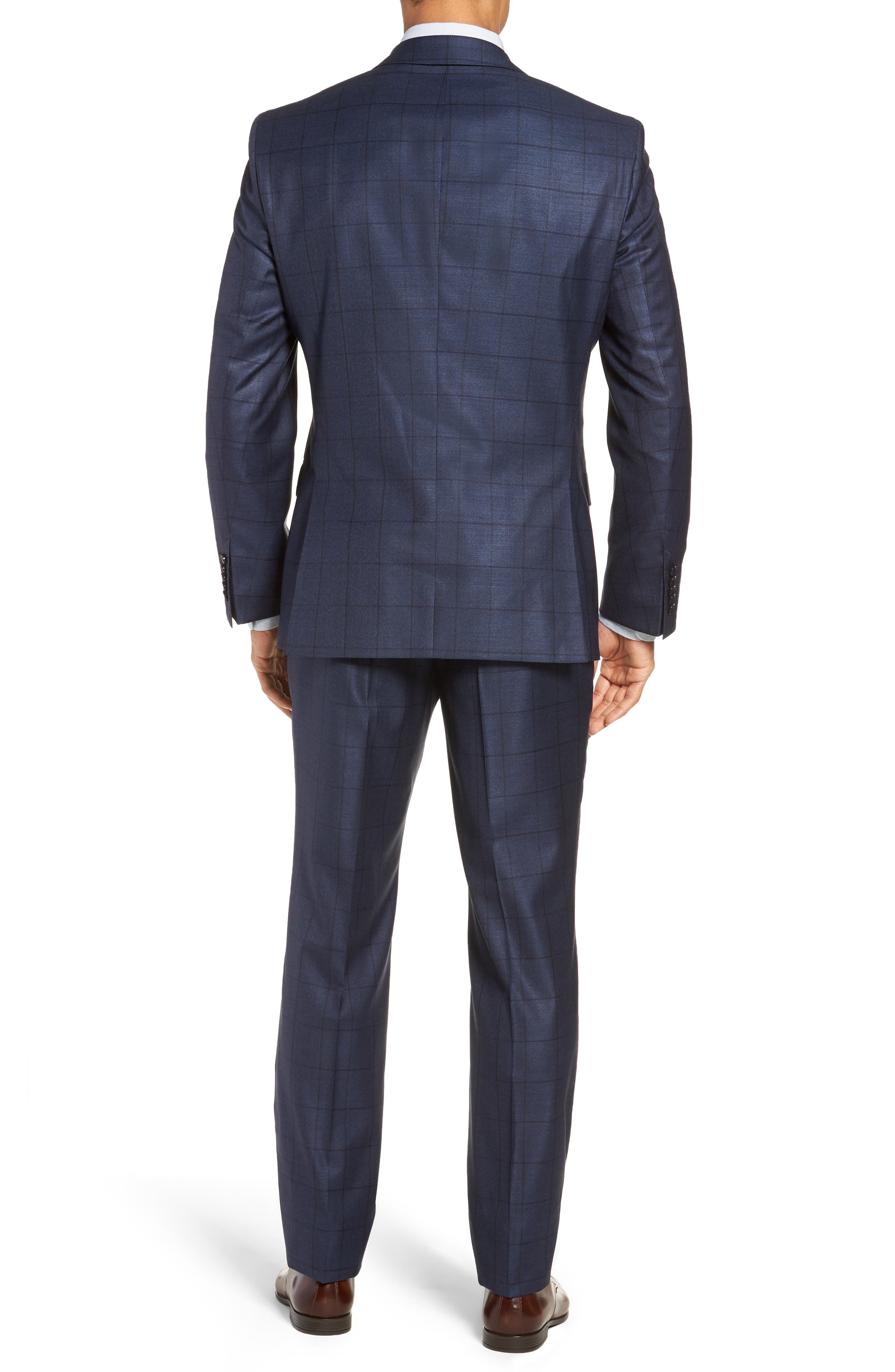 Harvers/Glover Trim Fit Windowpane Wool & Silk Suit,                             Alternate thumbnail 2, color,                             OPEN BLUE