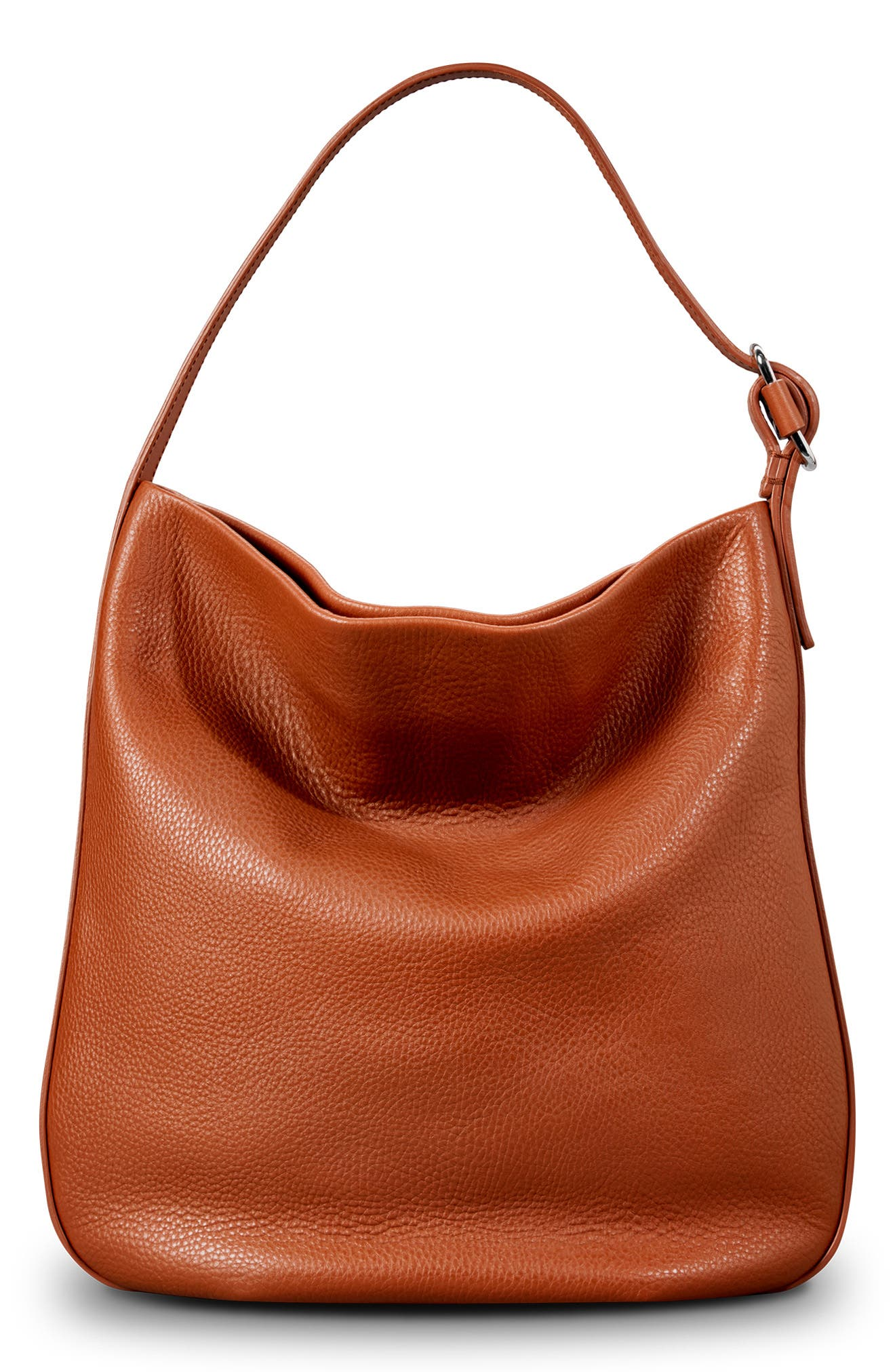 Birdy Grained Leather Hobo Bag,                             Alternate thumbnail 3, color,                             BOURBON