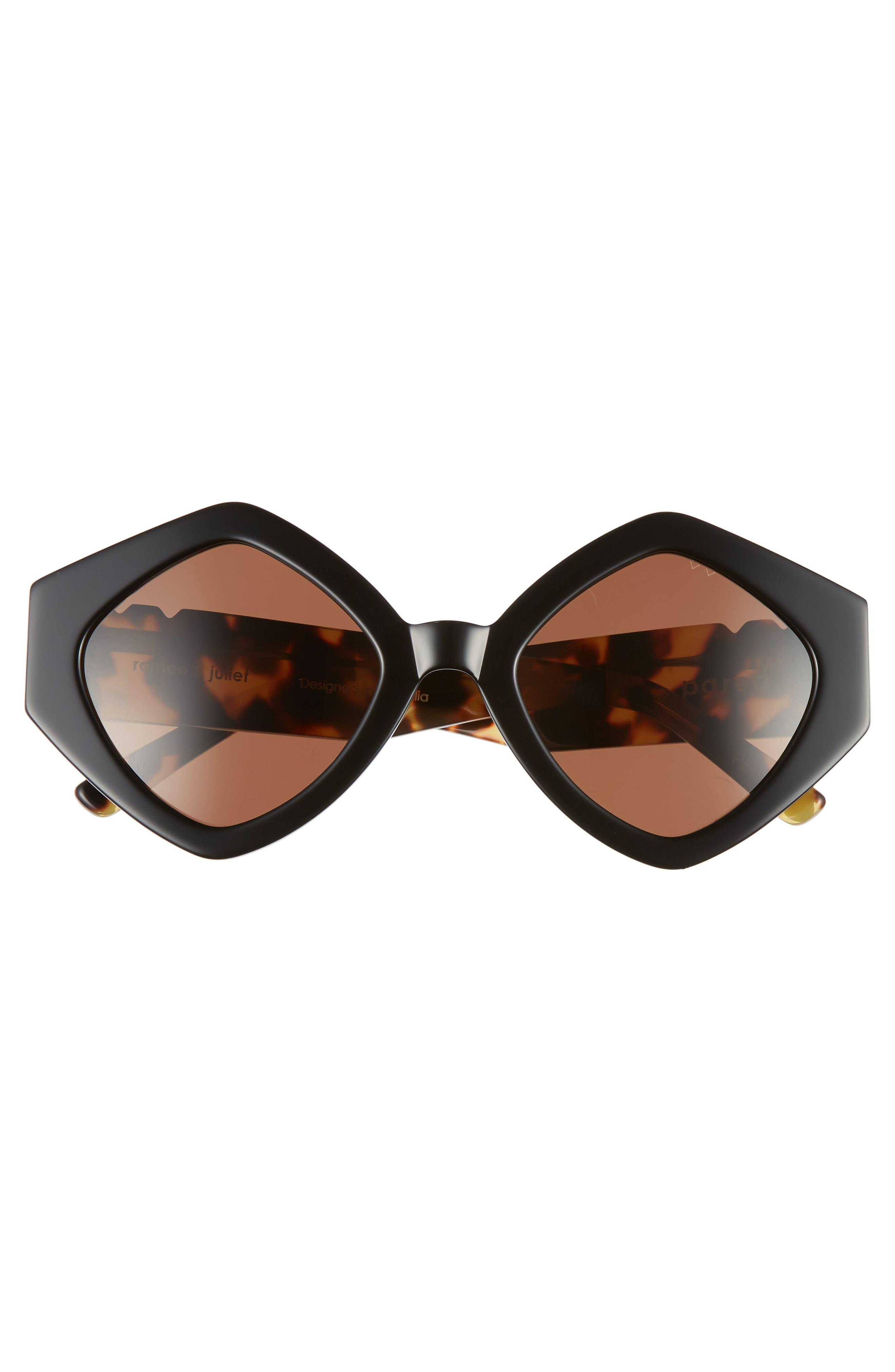 Romeo & Juliet 52mm Sunglasses,                             Alternate thumbnail 3, color,                             BLACK SOLID BROWN LENSES