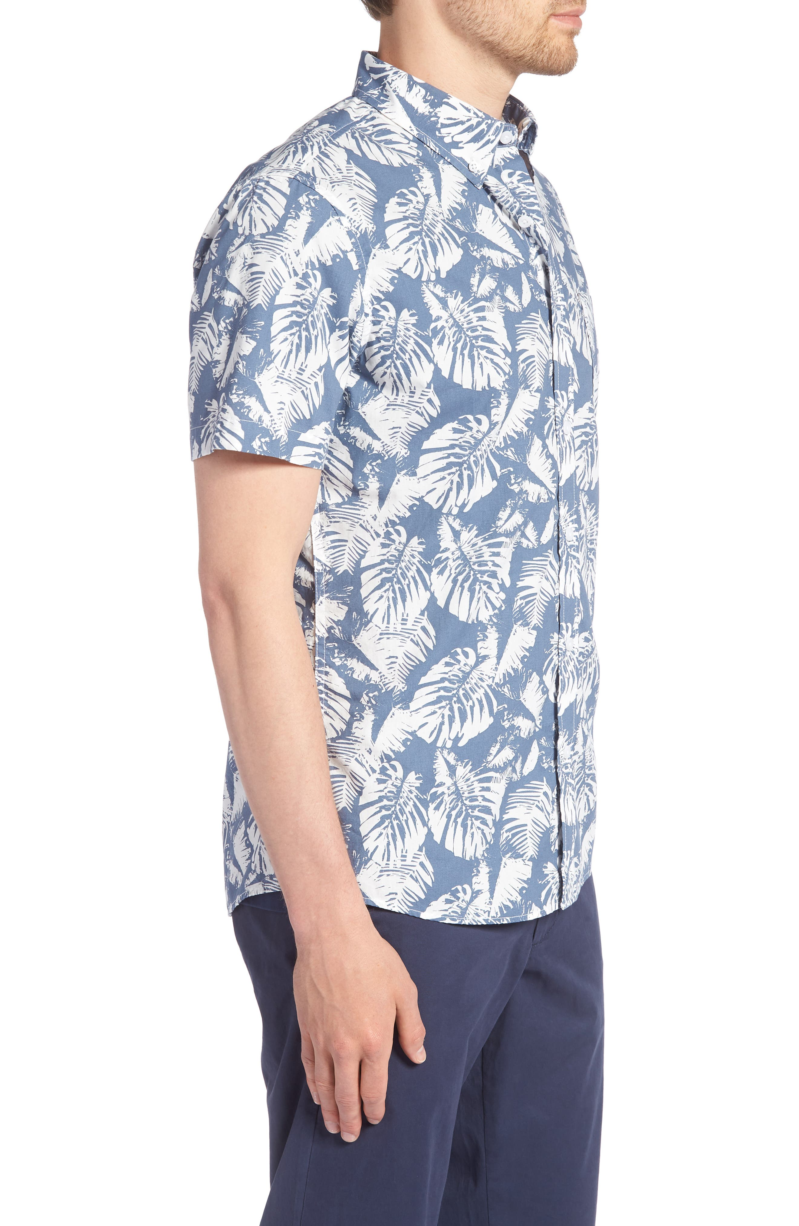Trim Fit Palm Print Sport Shirt,                             Alternate thumbnail 3, color,                             410