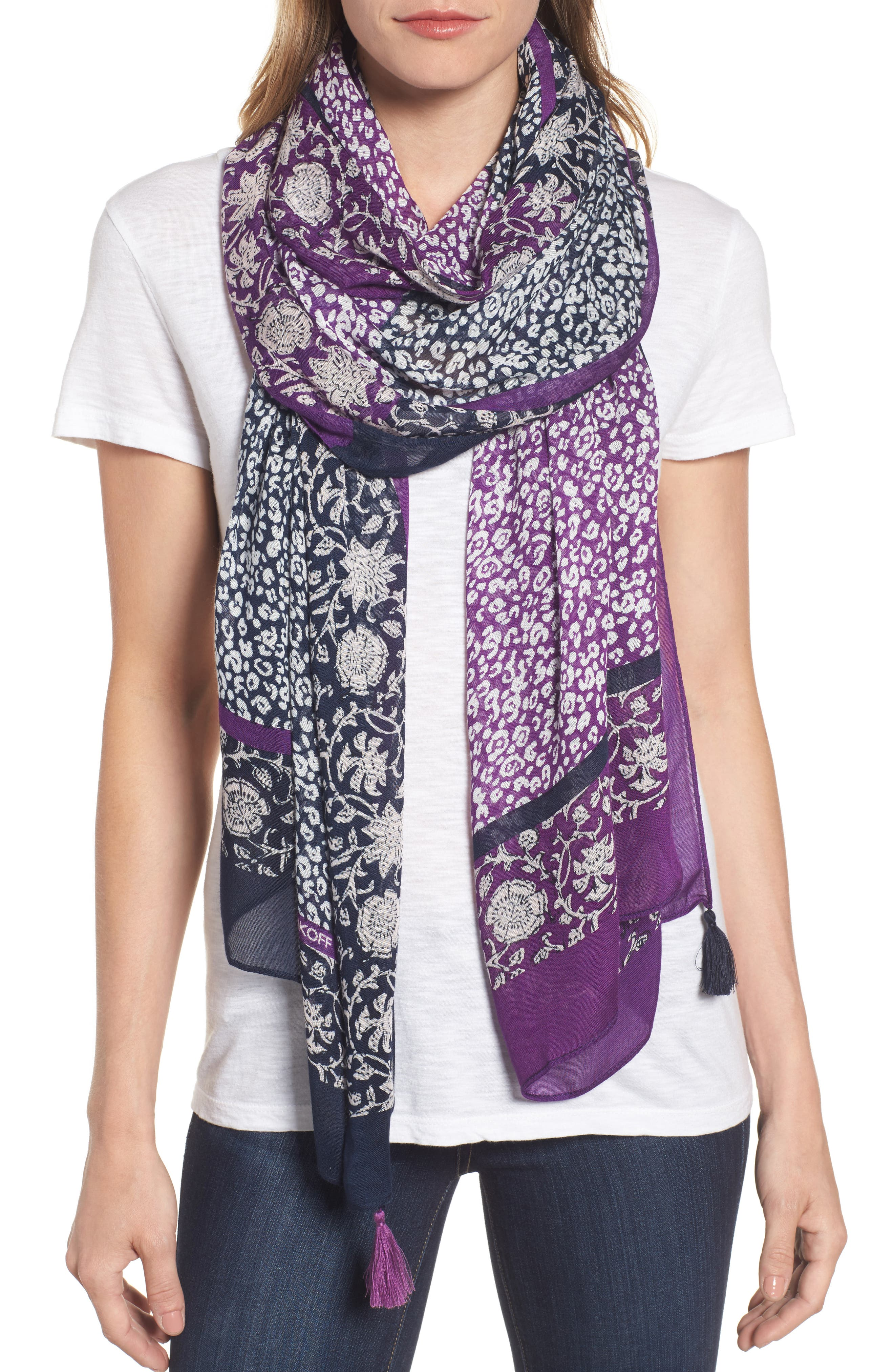 Baby Leopard Batik Print Scarf,                         Main,                         color, 400