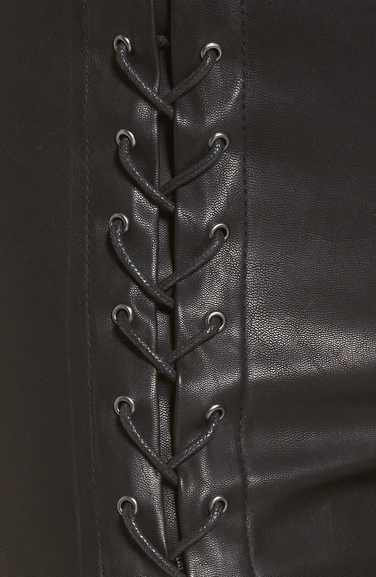 Lace-Up Faux Leather Pants,                             Alternate thumbnail 5, color,                             007