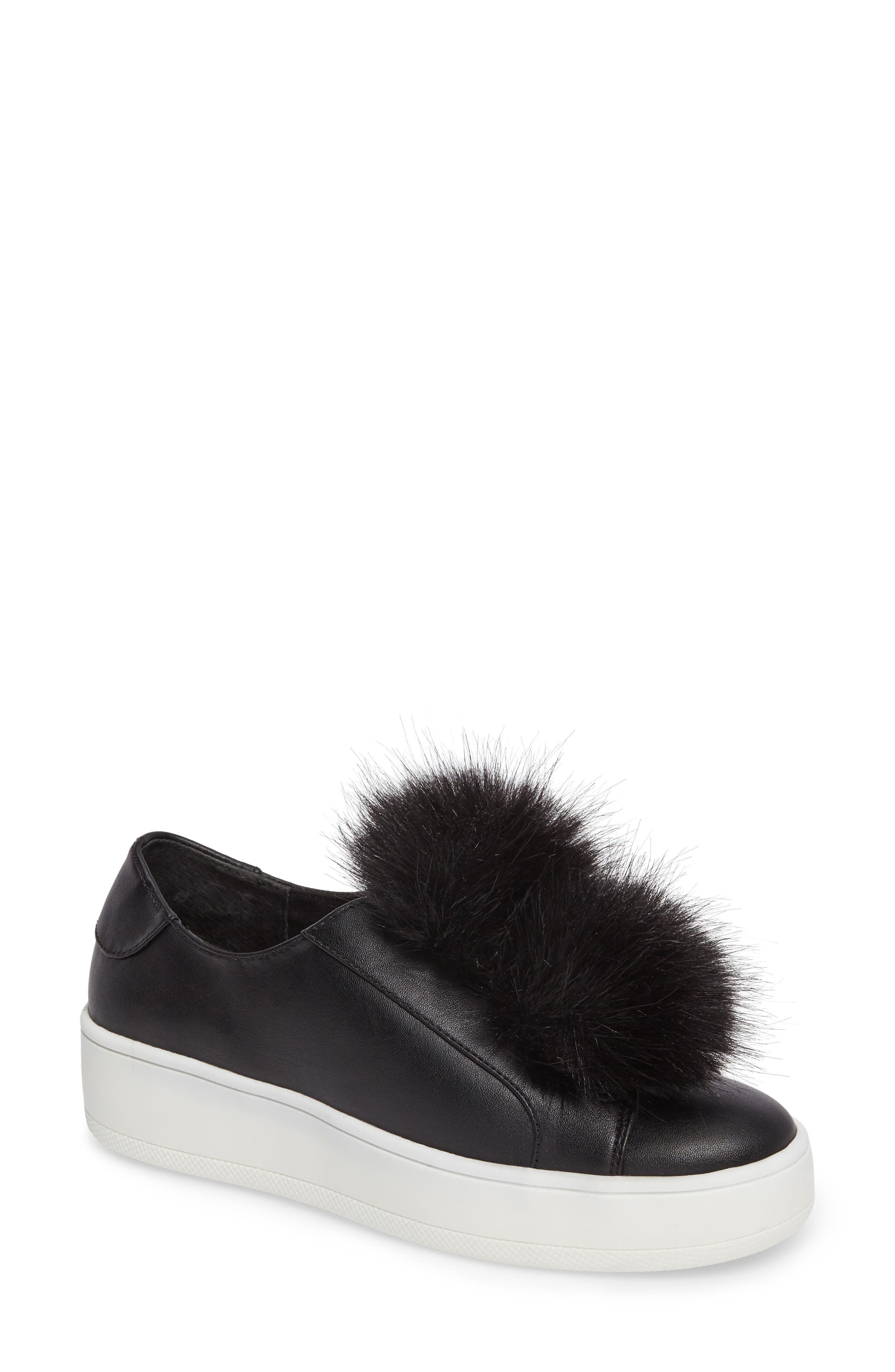 Breeze Faux Fur Pom Sneaker,                         Main,                         color, 001