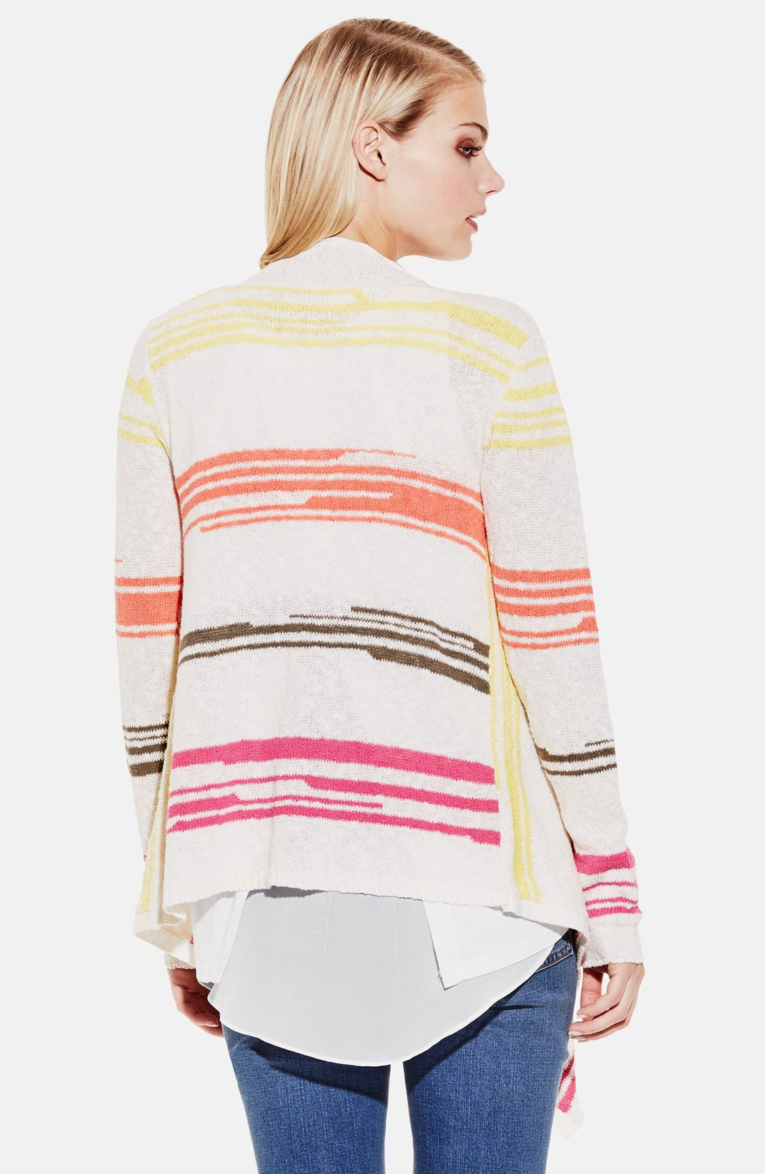 TWO BY VINCE CAMUTO,                             Stripe Drape Front Cardigan,                             Alternate thumbnail 2, color,                             136