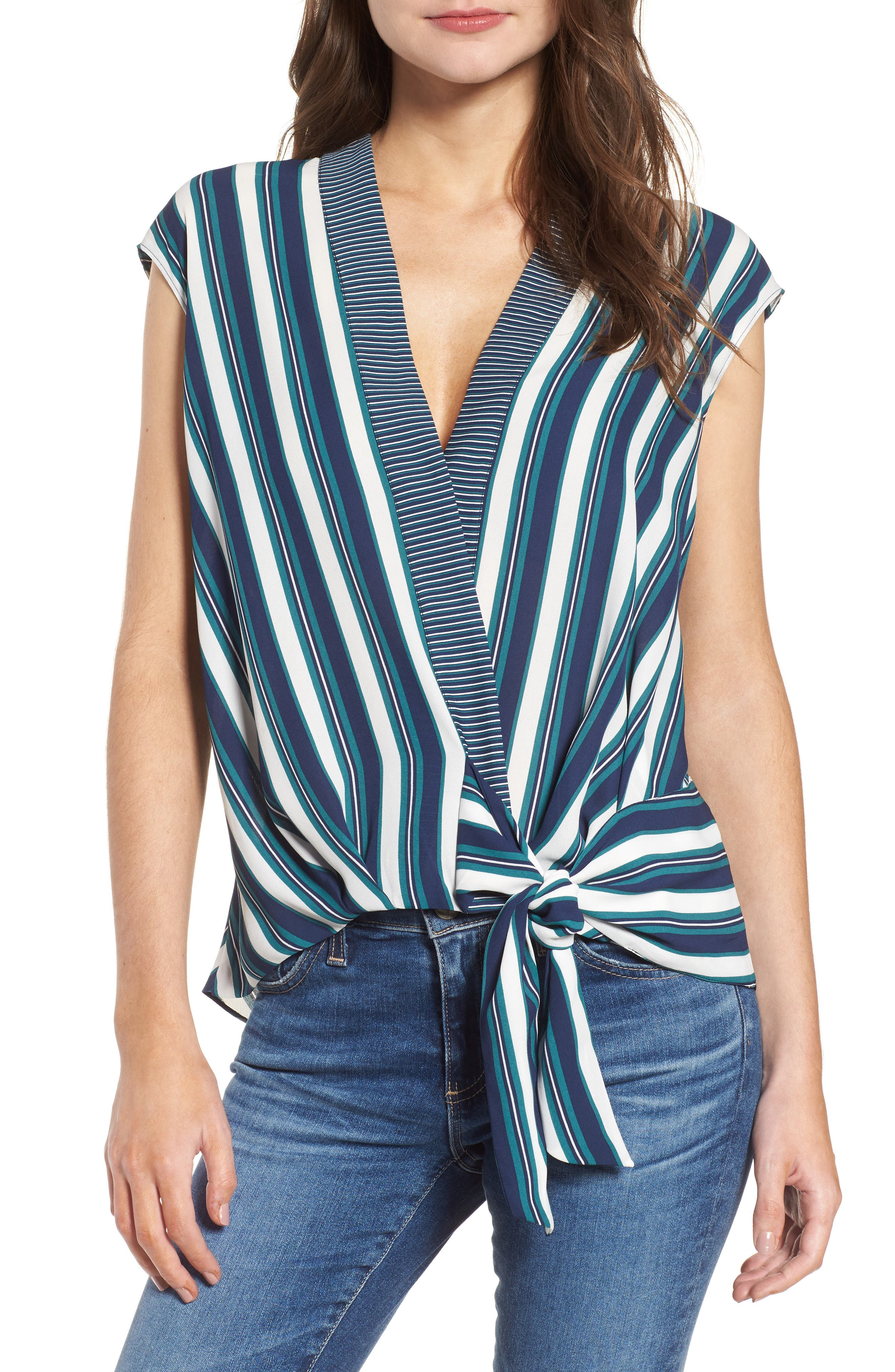 Stripe Wrap Top,                         Main,                         color,