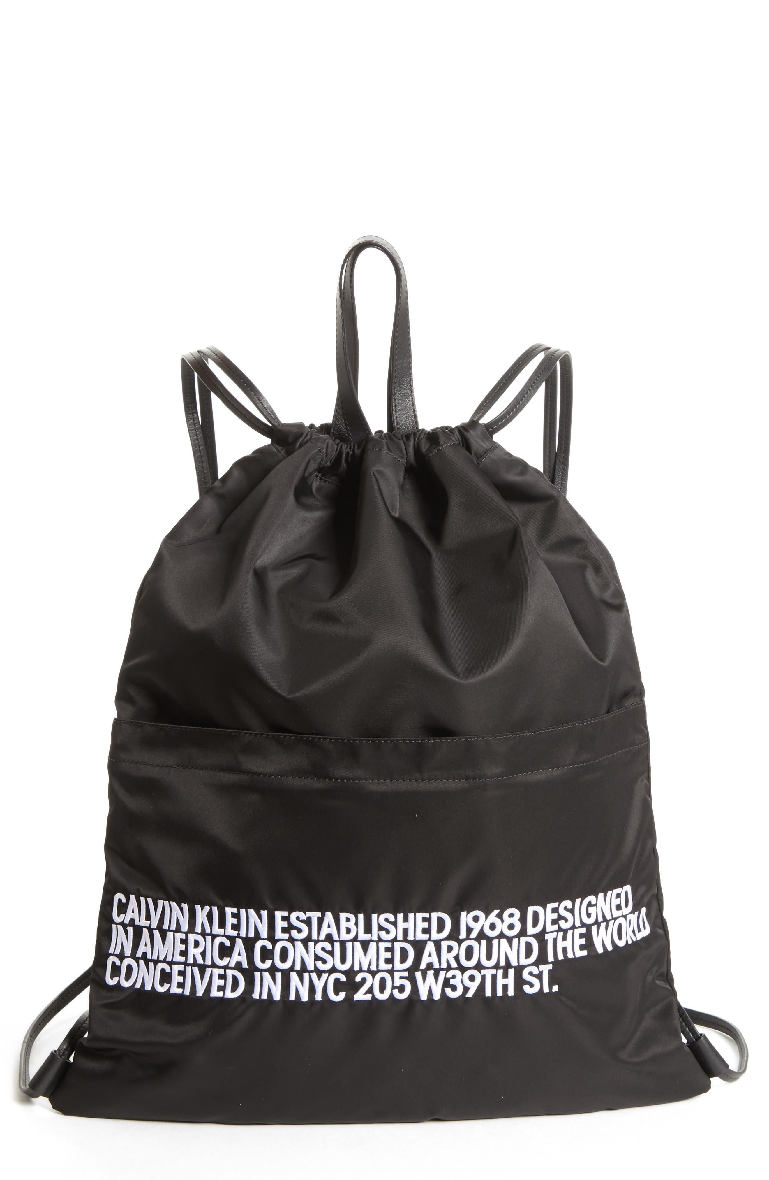 Drawstring Backpack,                             Main thumbnail 1, color,                             BLACK