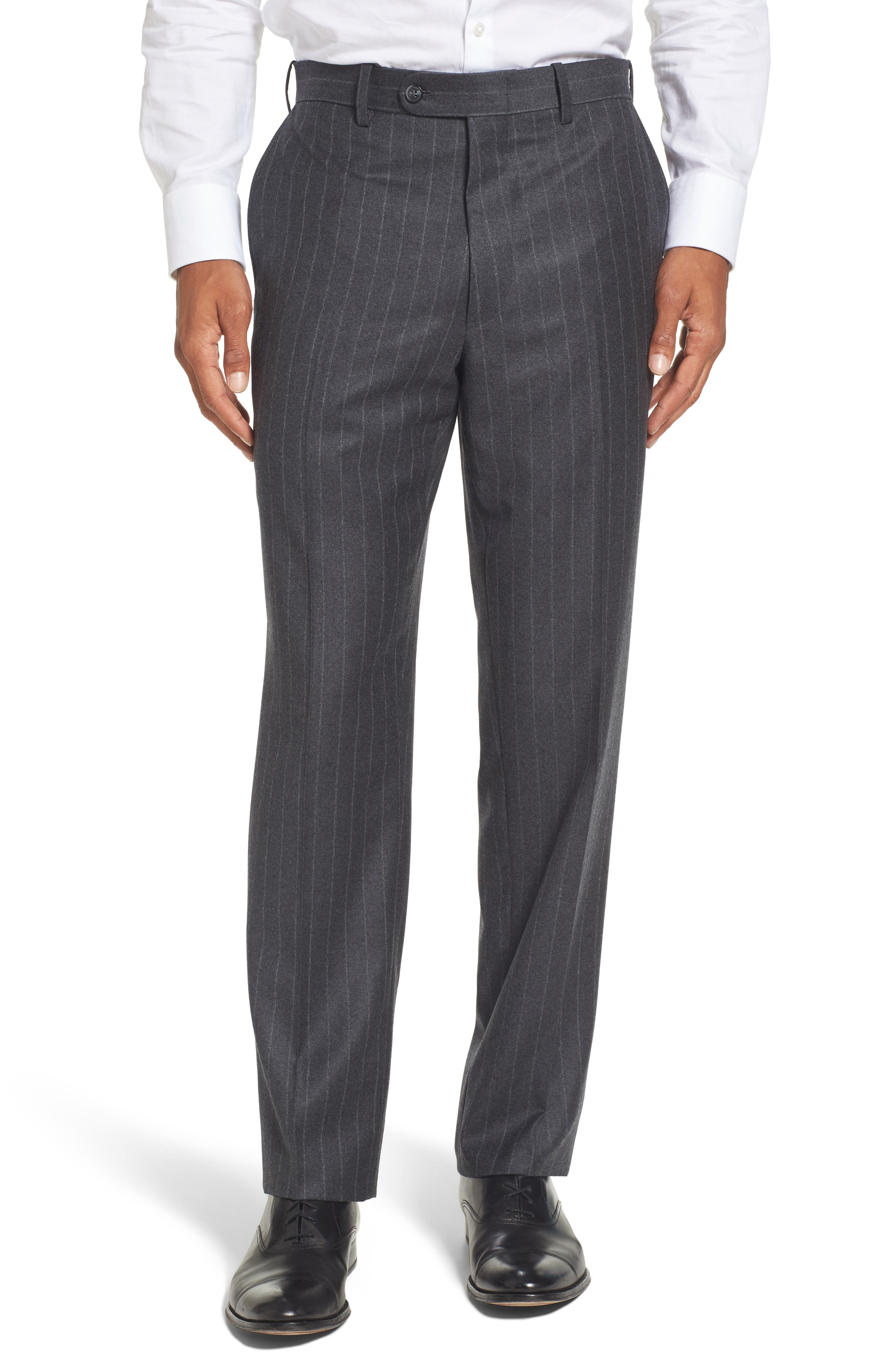 Flat Front Chalk Stripe Wool Trousers,                             Main thumbnail 1, color,                             030