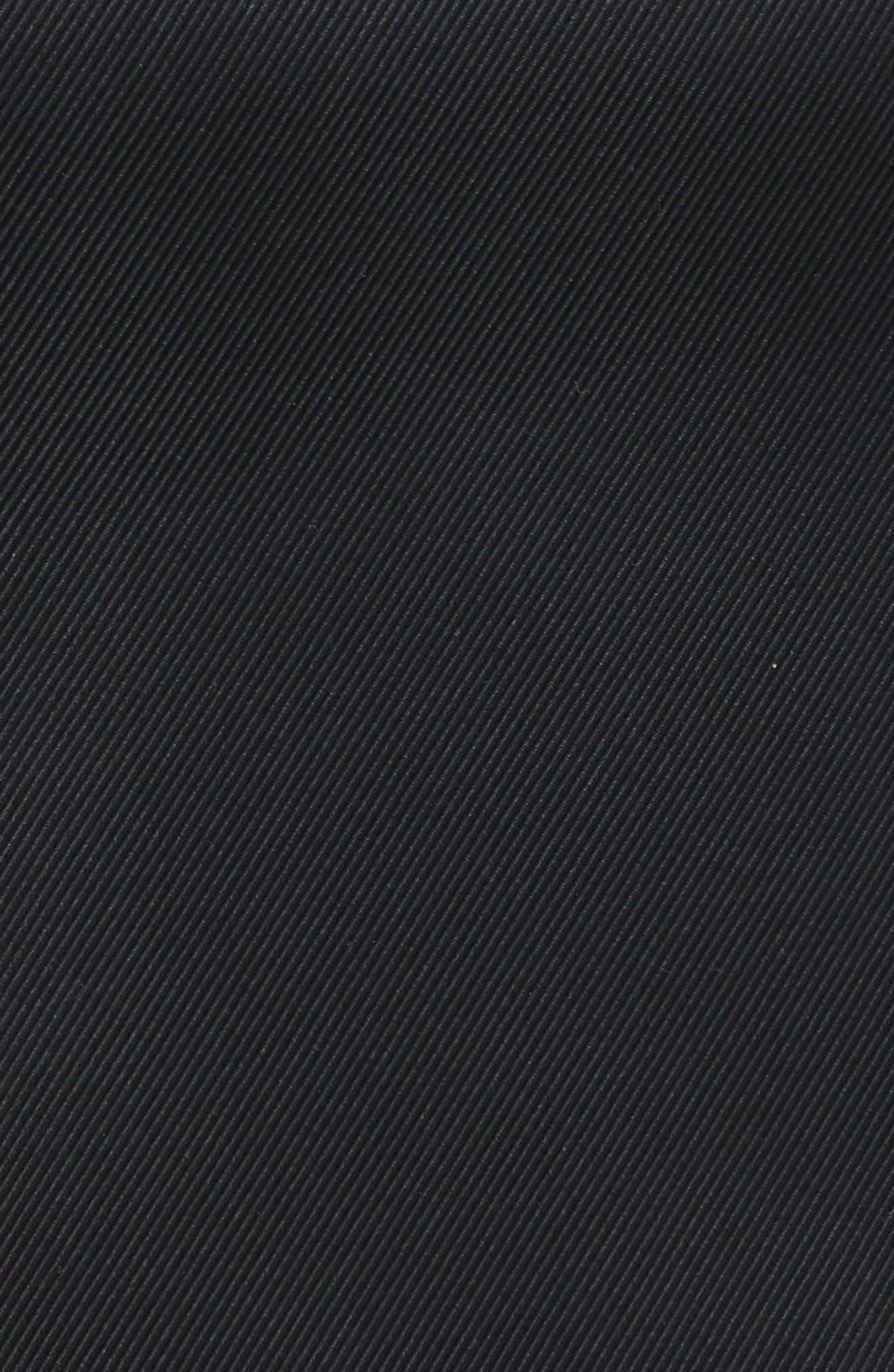 King Twill Silk Pocket Square,                             Alternate thumbnail 3, color,                             BLACK