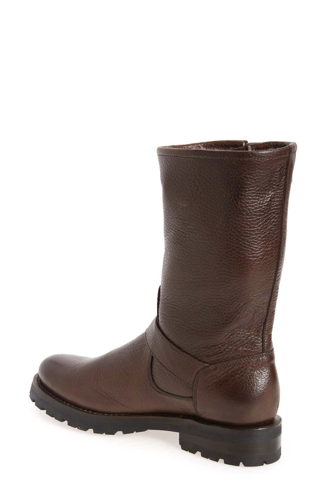 Natalie Buckle Strap Engineer Genuine Shearling Lined Boot,                             Alternate thumbnail 2, color,