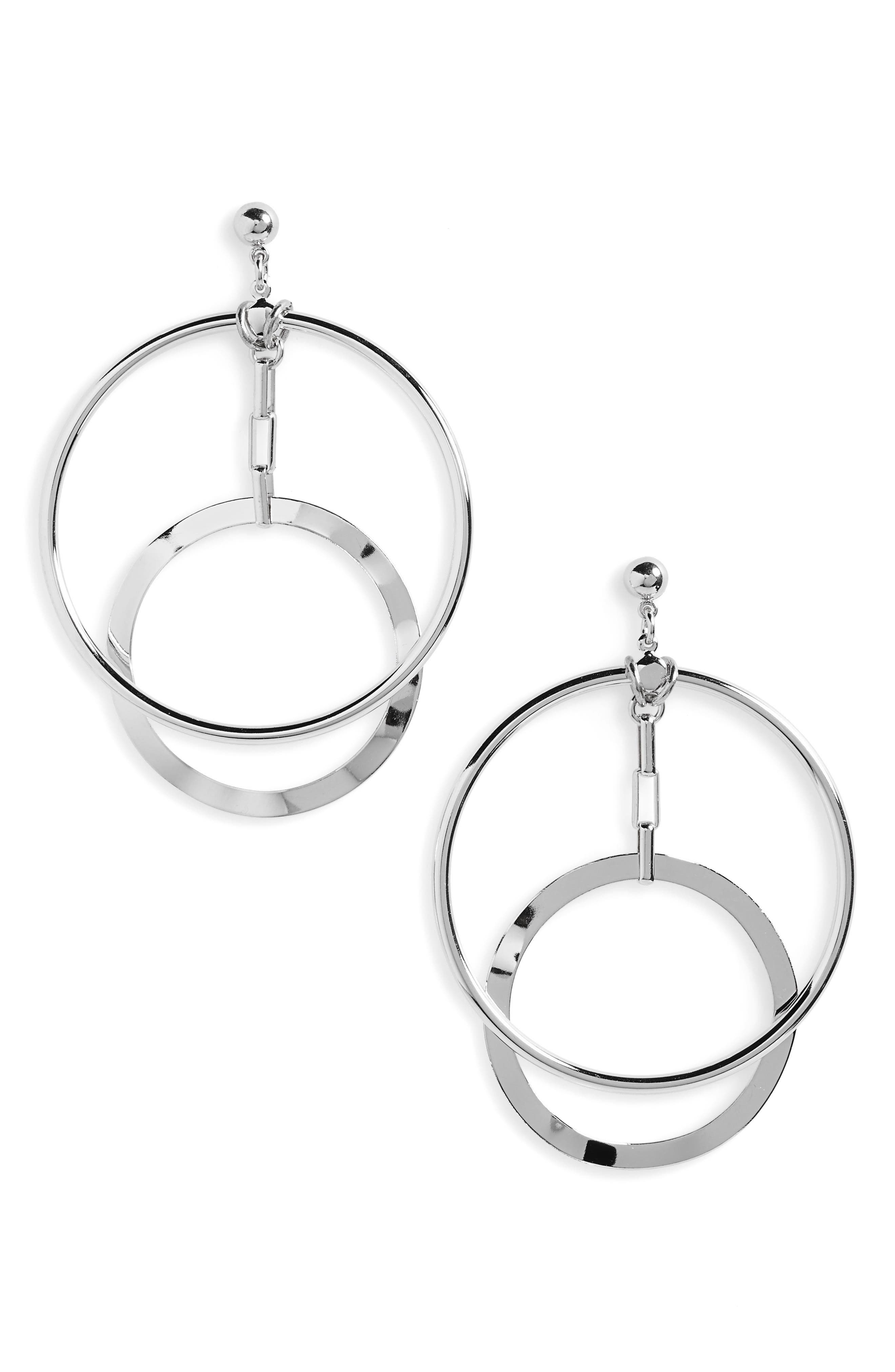 Eclipse Hoop Earrings,                             Main thumbnail 1, color,                             SILVER