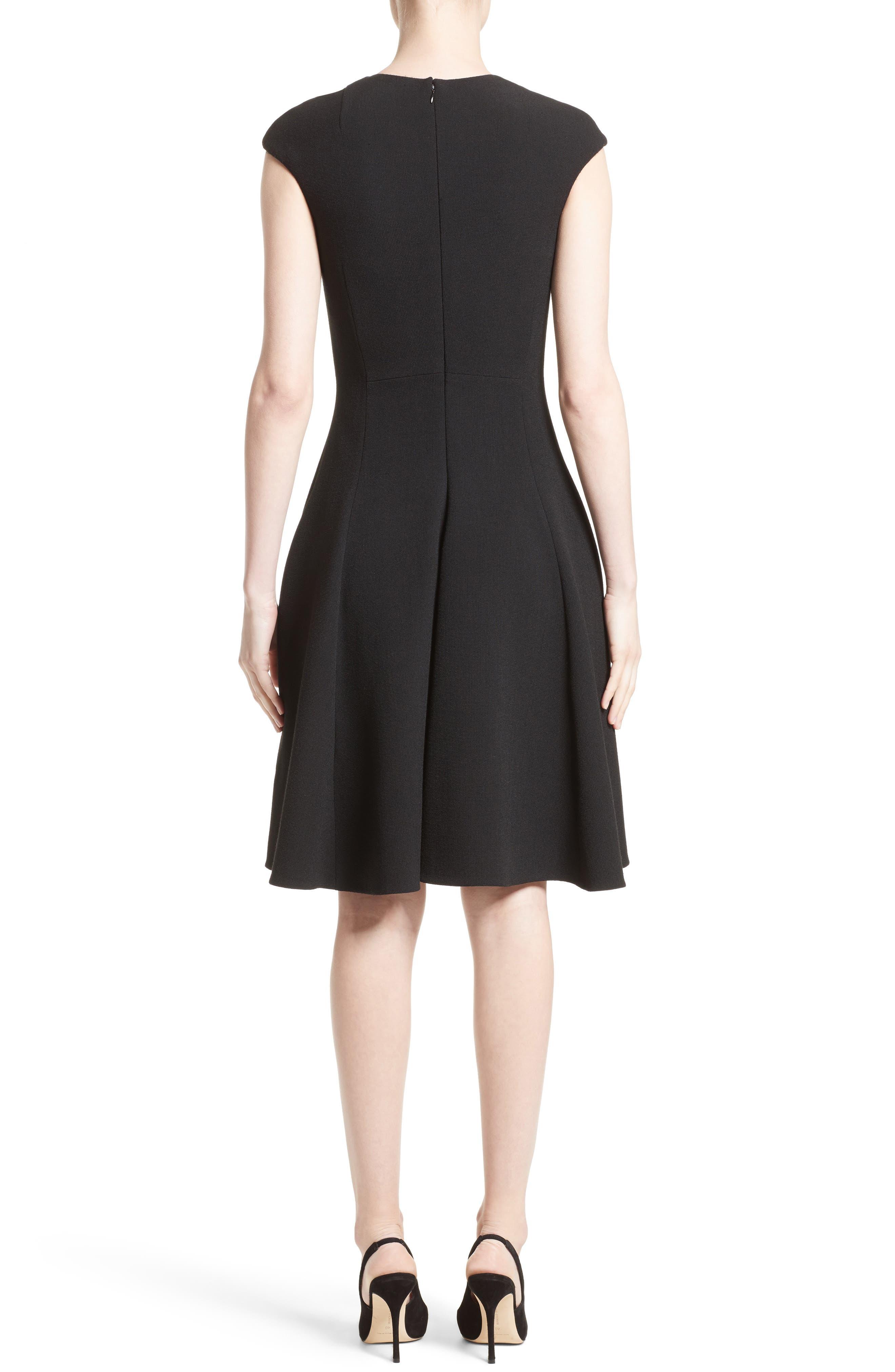 Bow Detail Fit & Flare Dress,                             Alternate thumbnail 2, color,                             001