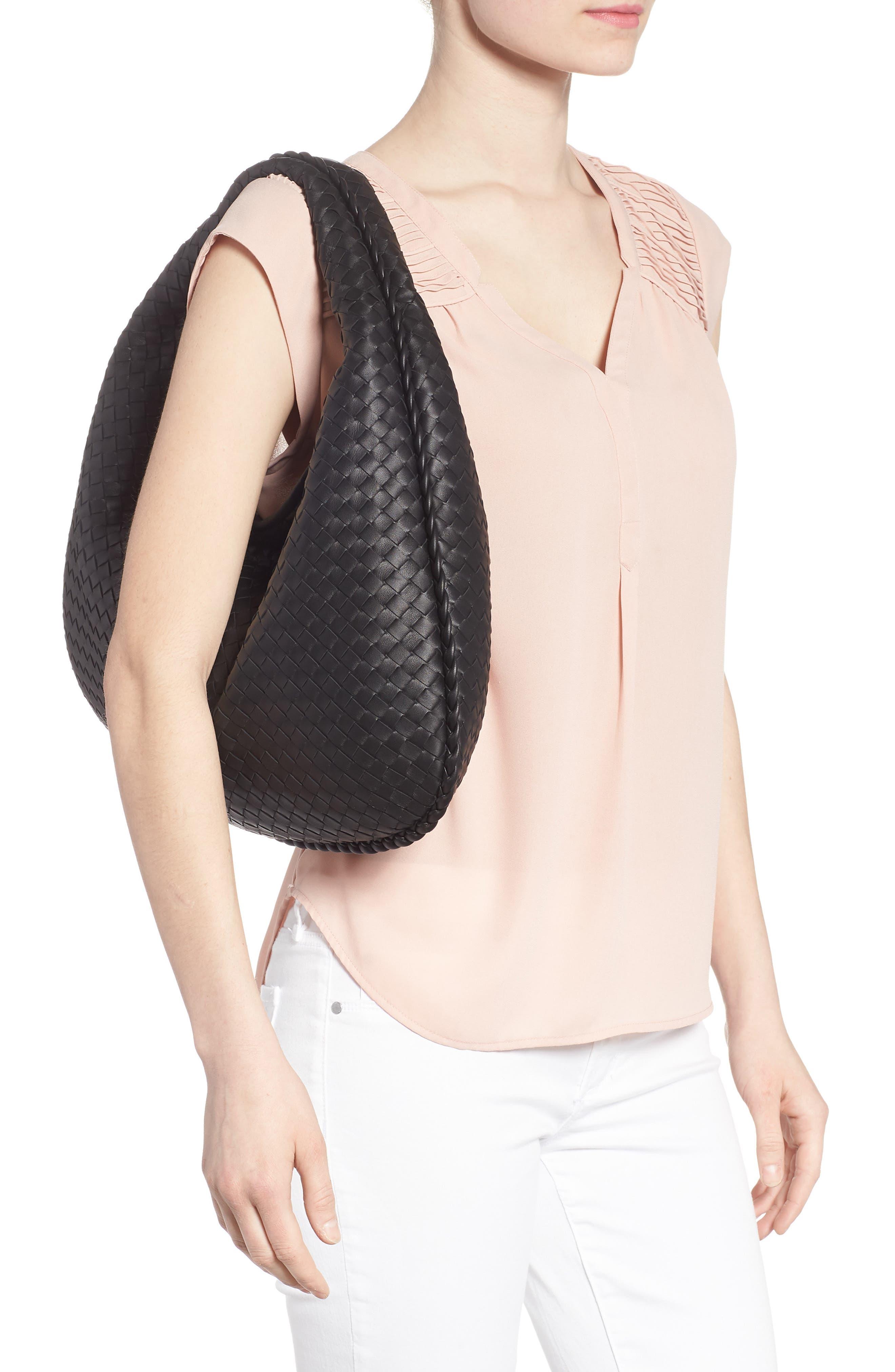 Large Veneta Leather Hobo,                             Alternate thumbnail 2, color,                             8175 NERO