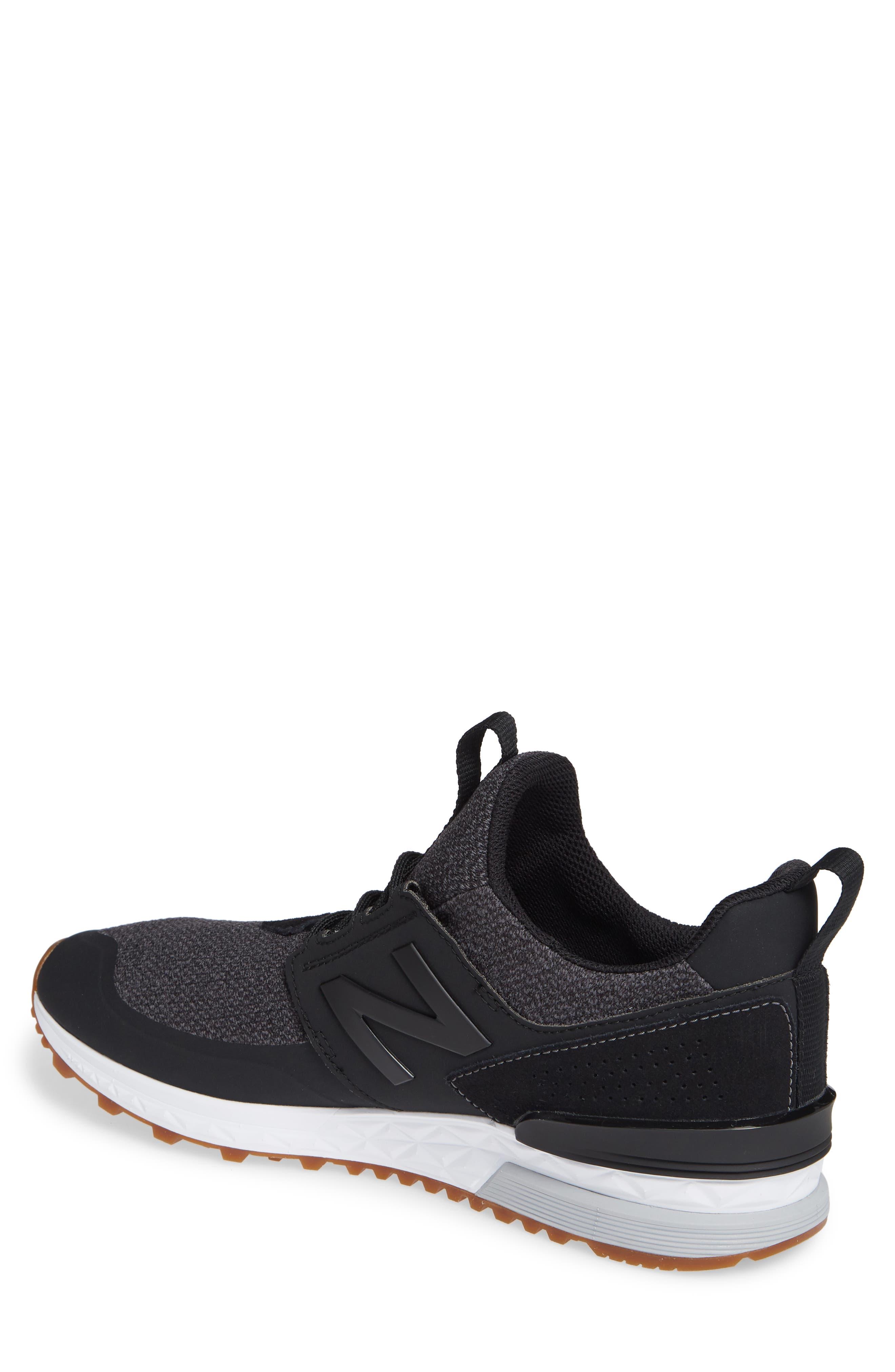 574 Sport Sneaker,                             Alternate thumbnail 2, color,                             BLACK SYNTHETIC/ TEXTILE