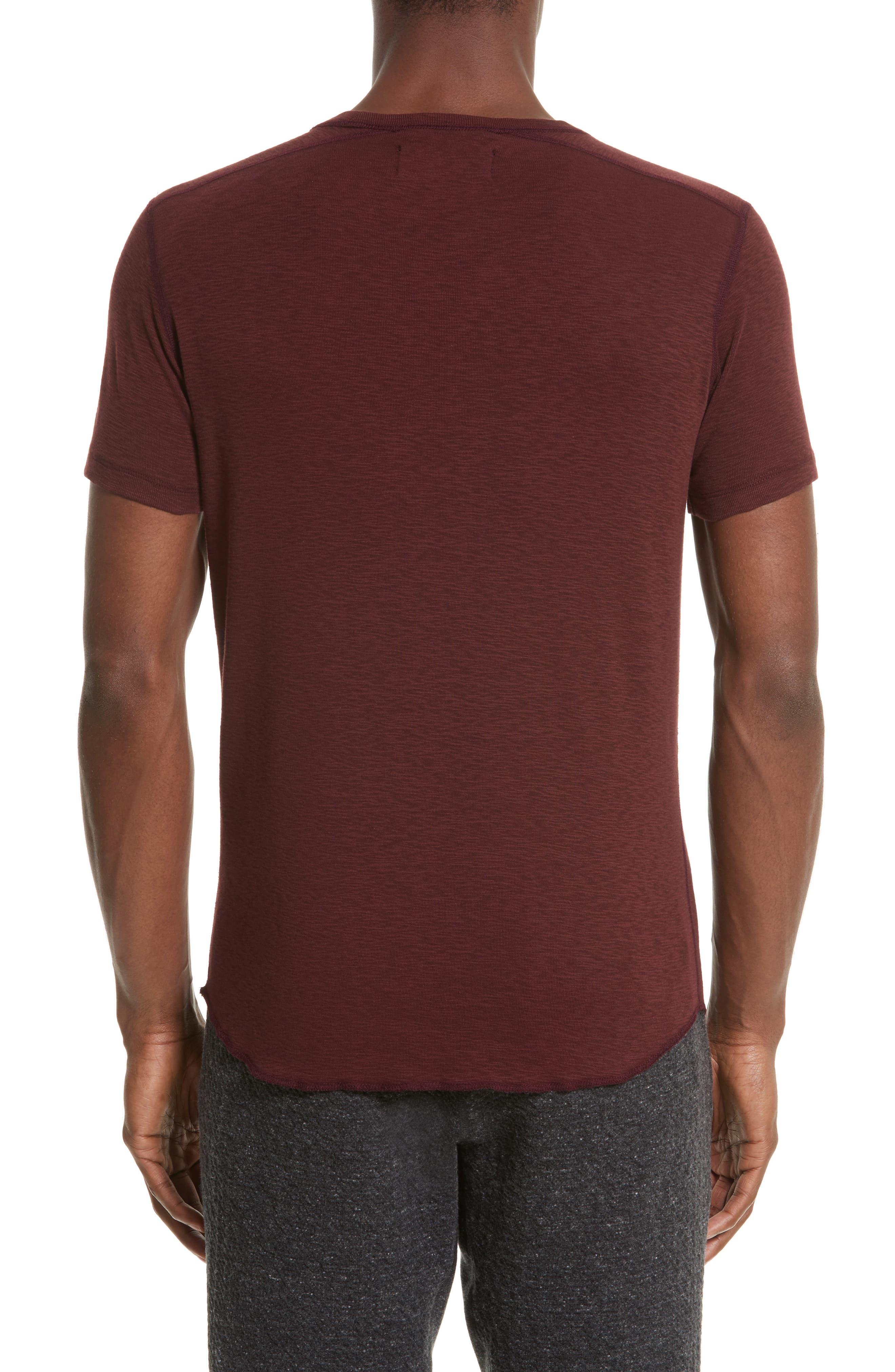 Ribbed Slub Cotton T-Shirt,                             Alternate thumbnail 2, color,                             OXBLOOD