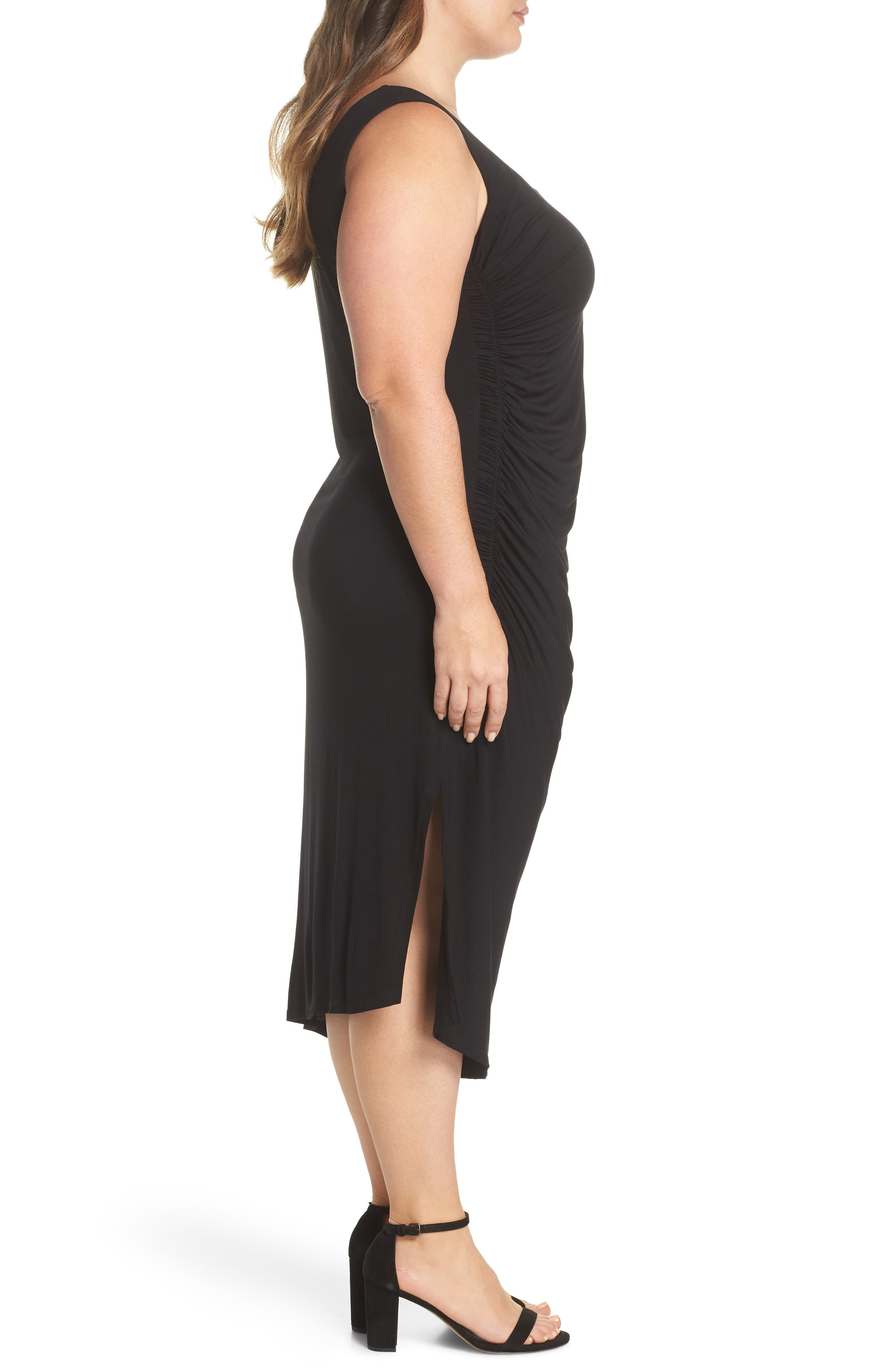 Side Ruched Body-Con Dress,                             Alternate thumbnail 3, color,                             RICH BLACK