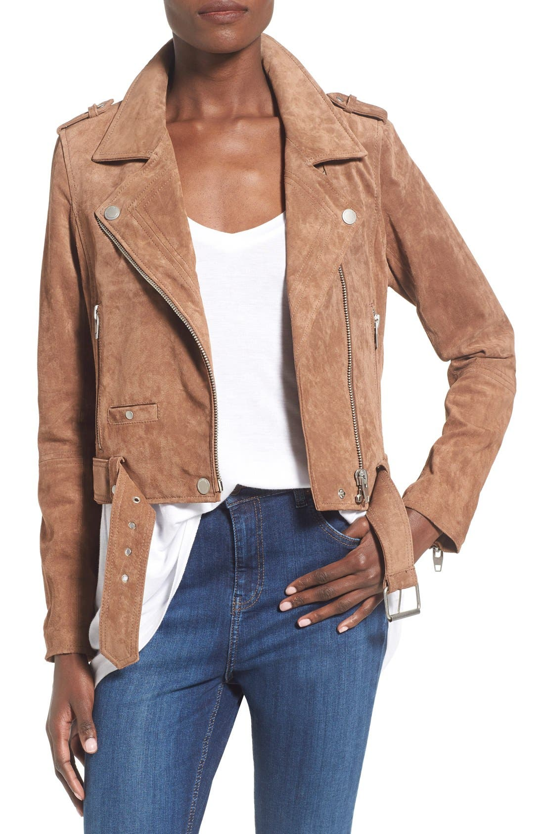 Morning Suede Moto Jacket, Main, color, COFFEE BEAN