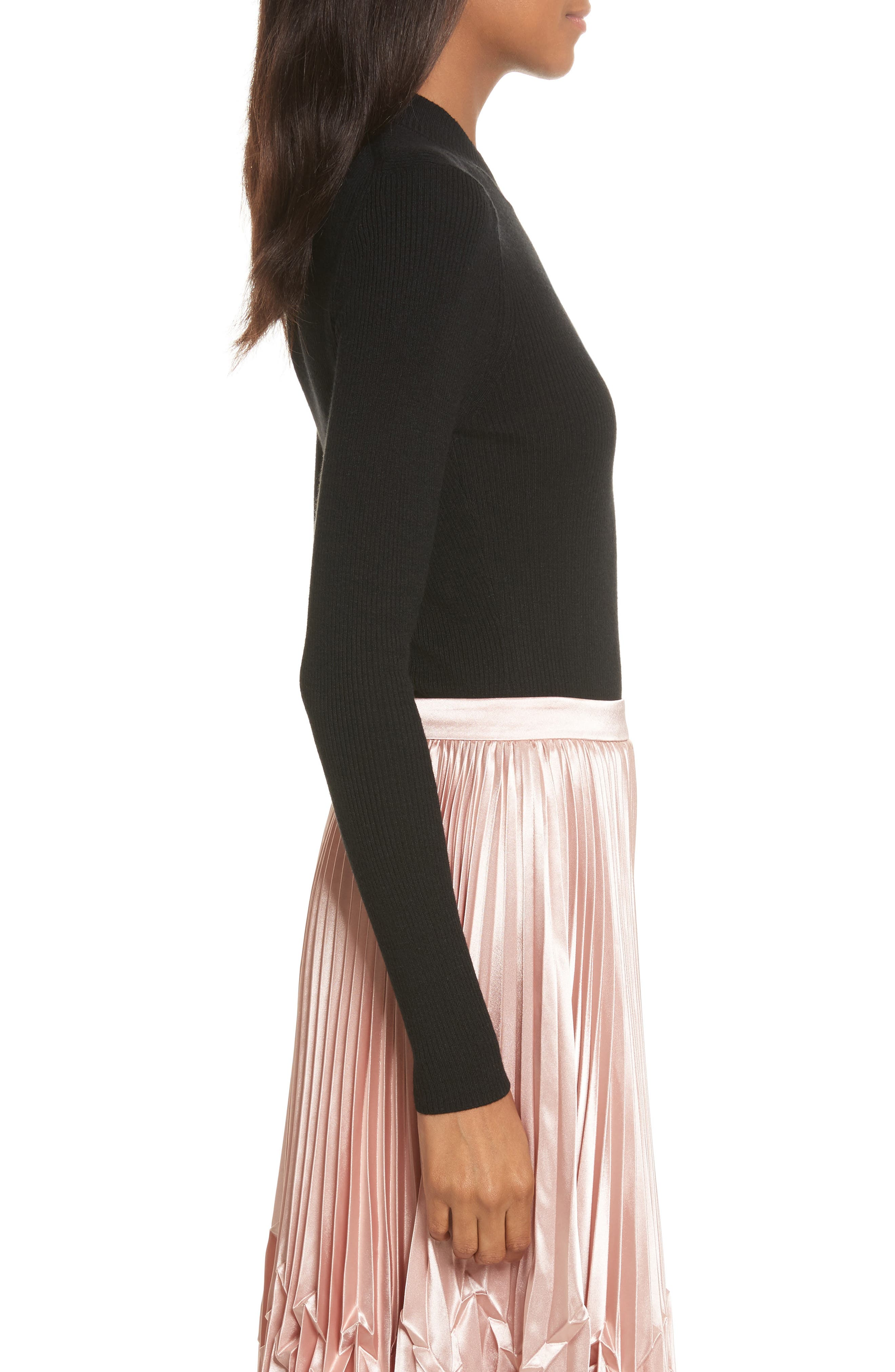 Nehru Bow Skinny Rib Knit Sweater,                             Alternate thumbnail 5, color,