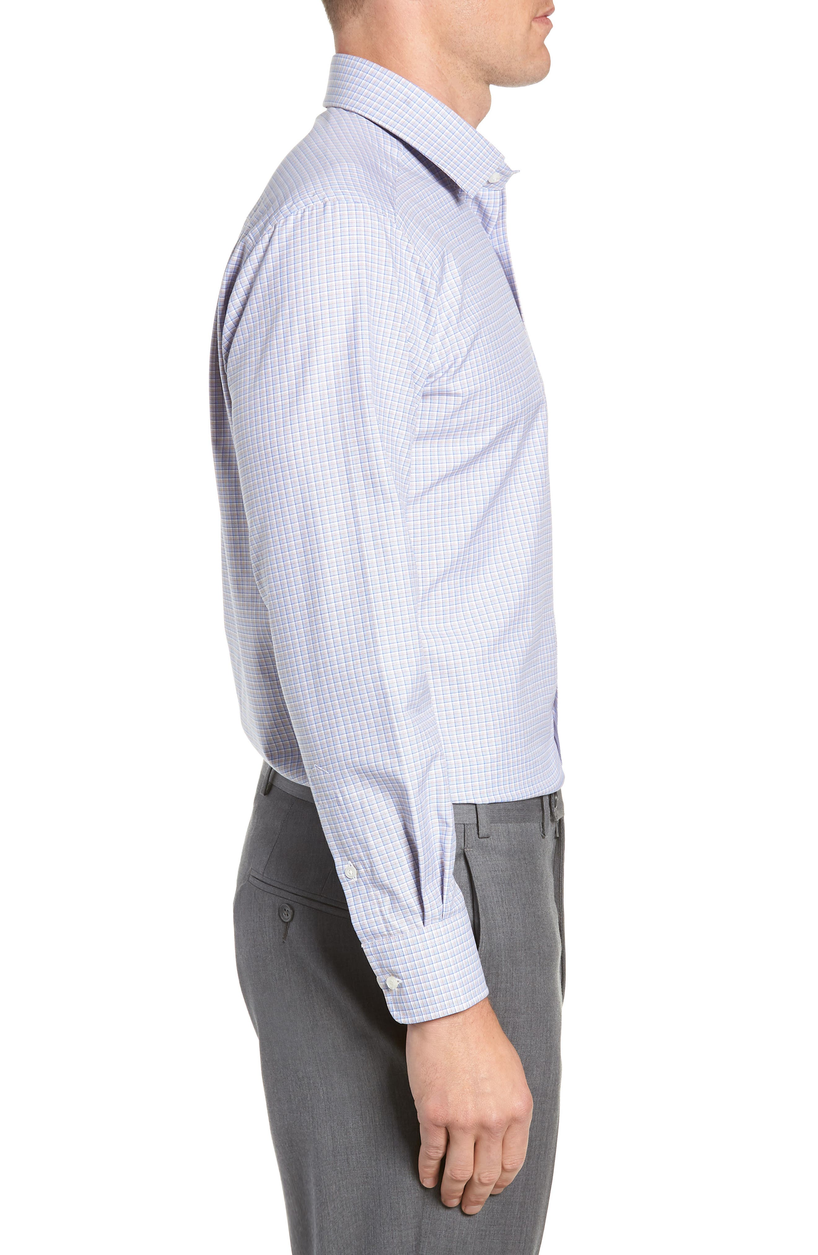 Trim Fit Check Dress Shirt,                             Alternate thumbnail 4, color,                             CHOCOLATE