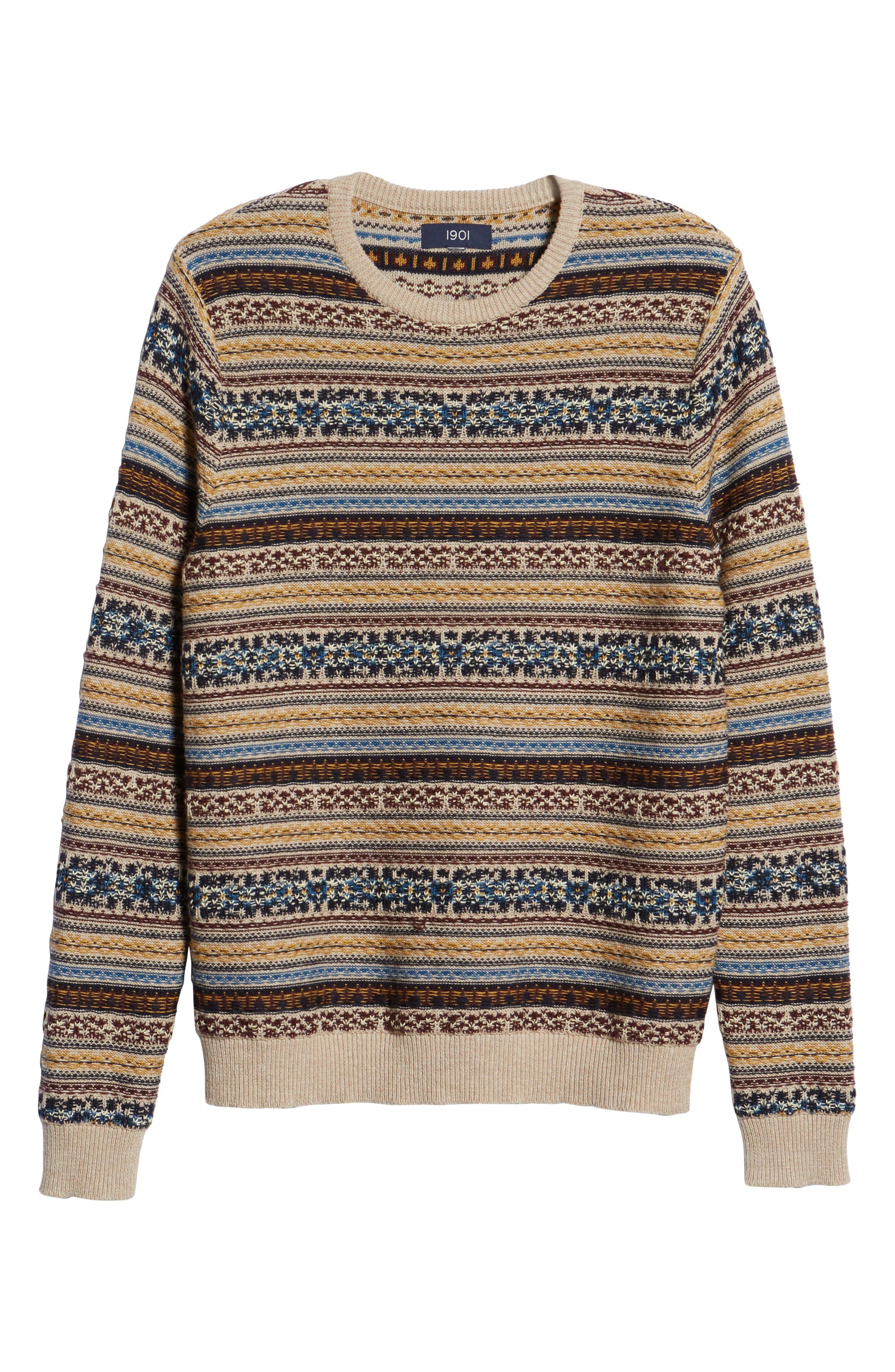 Regular Fit Fair Isle Crewneck Sweater,                             Alternate thumbnail 6, color,                             BROWN SIENA FAIRISLE