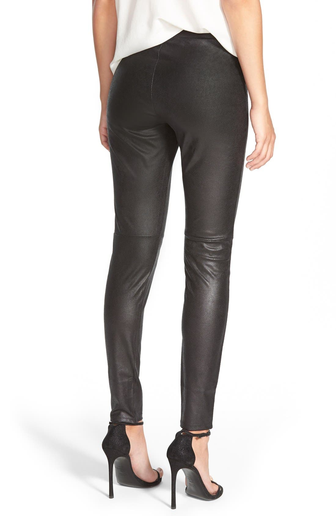 Faux Leather Leggings,                             Alternate thumbnail 9, color,                             001