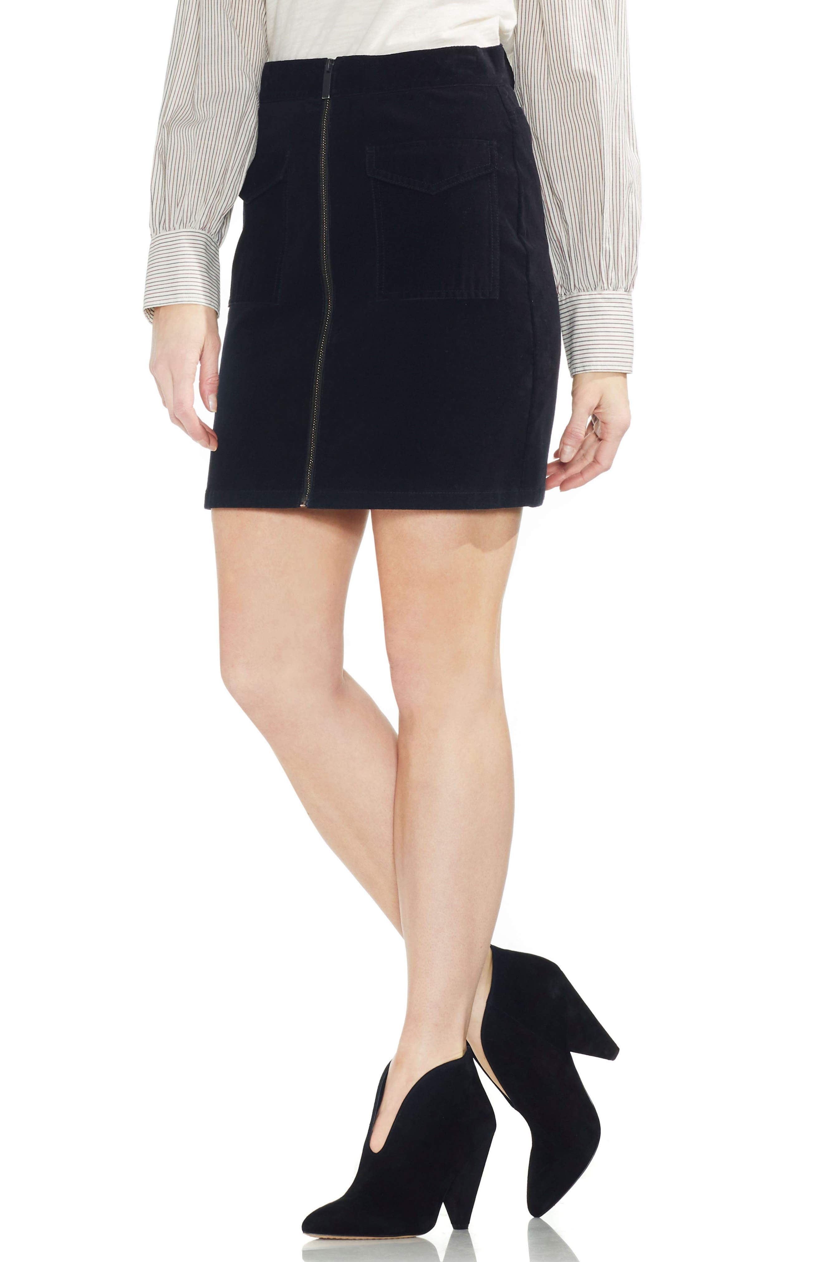 VINCE CAMUTO Washed Corduroy Zip Front Miniskirt, Main, color, 006