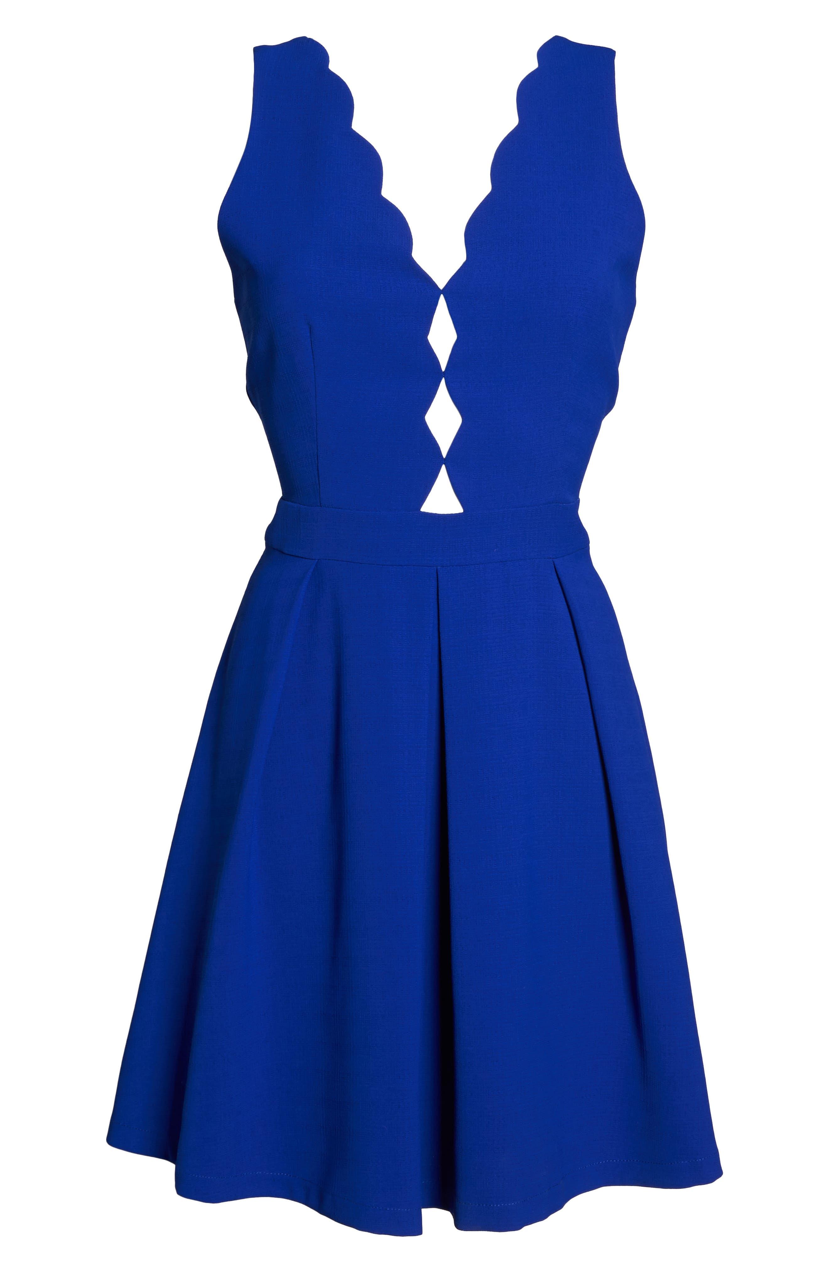 Scalloped Fit & Flare Dress,                             Alternate thumbnail 6, color,                             BLUE