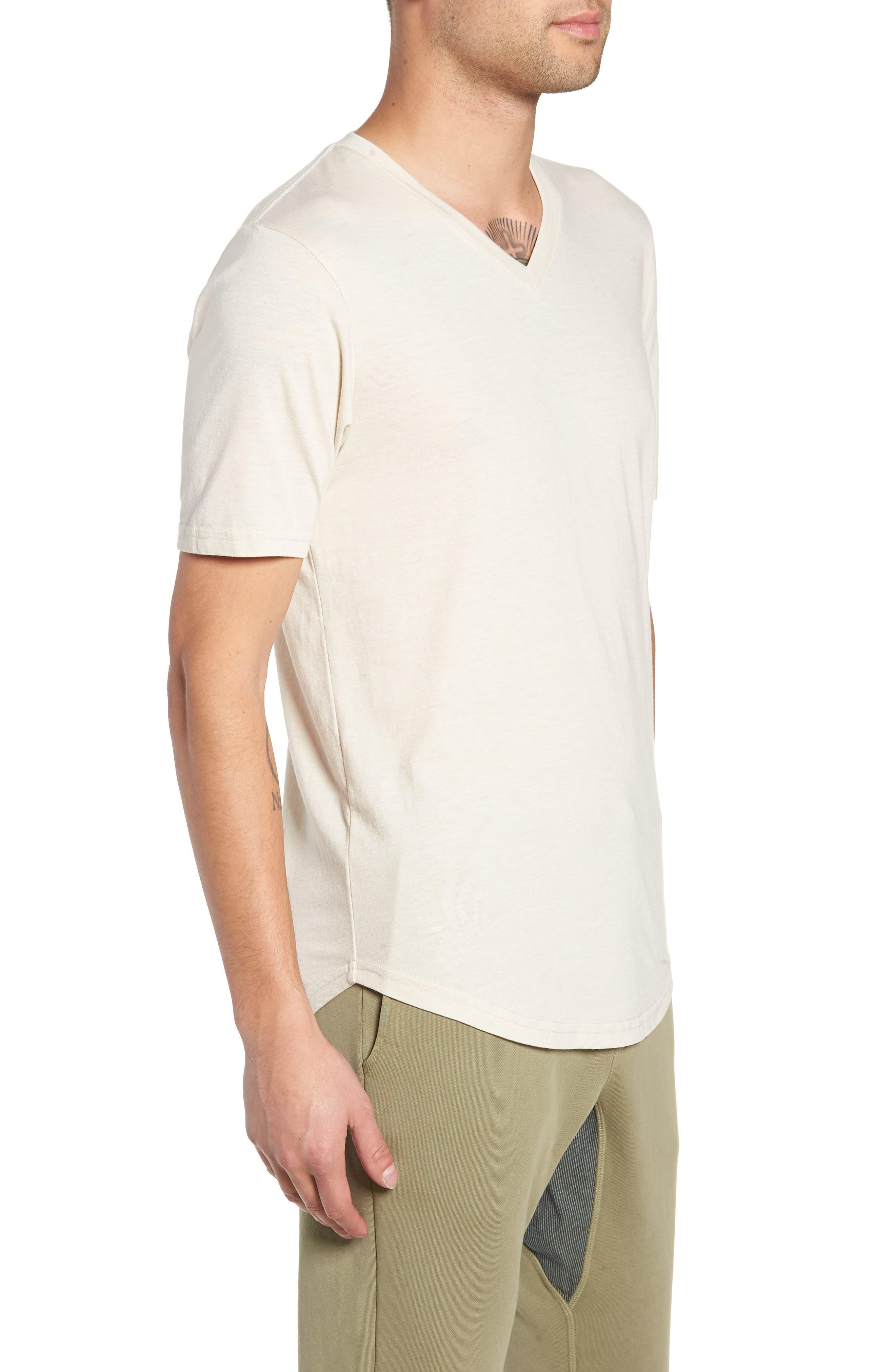 Scallop Triblend V-Neck T-Shirt,                             Alternate thumbnail 3, color,                             OYSTER