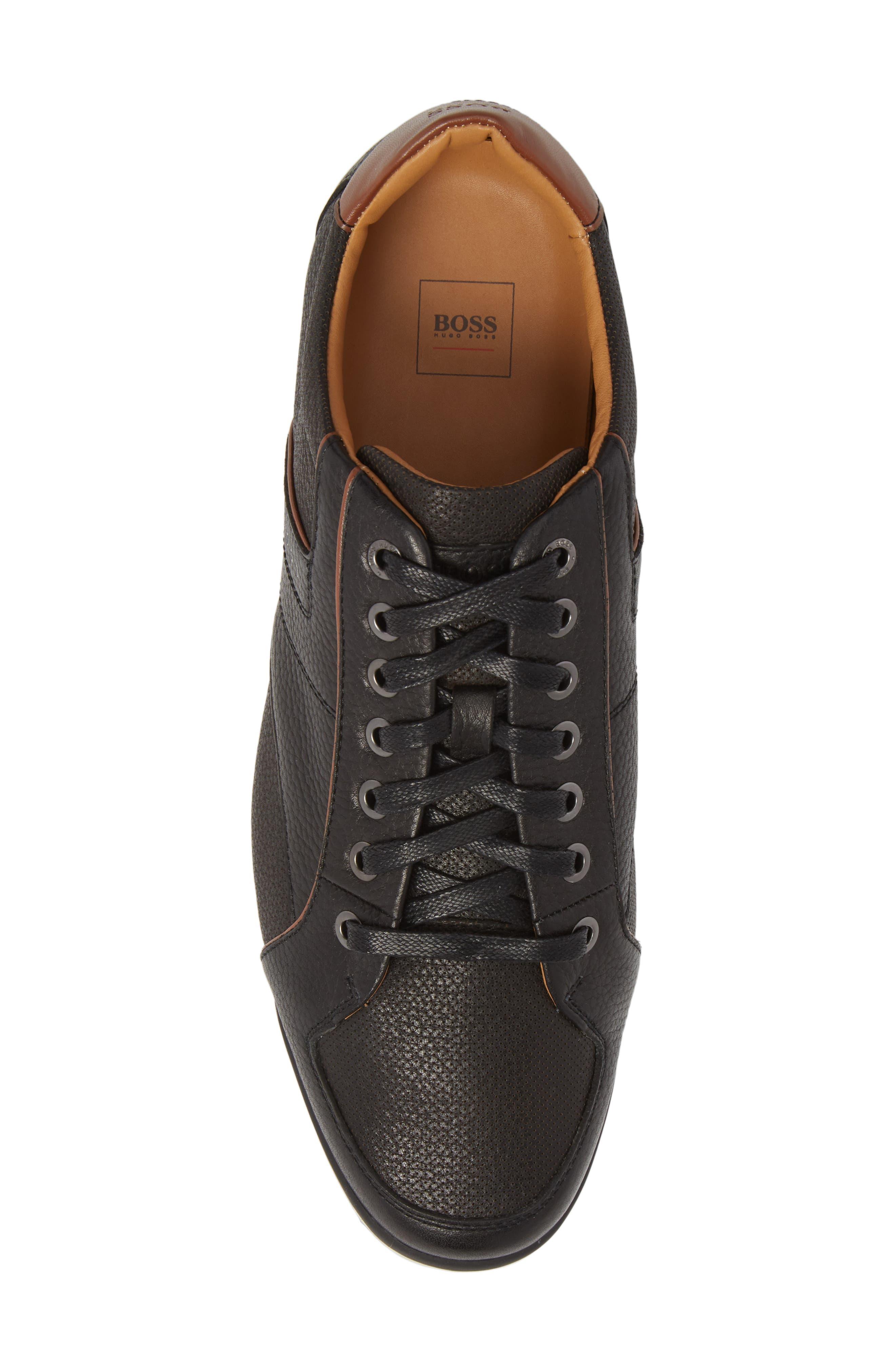 Hugo Boss Saturn Low Top Sneaker,                             Alternate thumbnail 5, color,                             BLACK LEATHER
