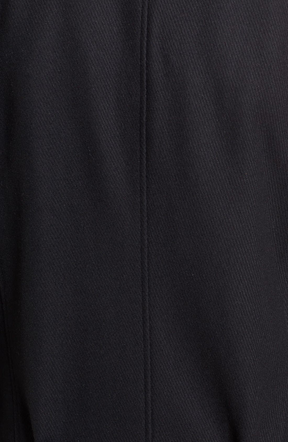 Wool Blend Overcoat with Knit Bib Inset,                             Alternate thumbnail 5, color,                             BLACK