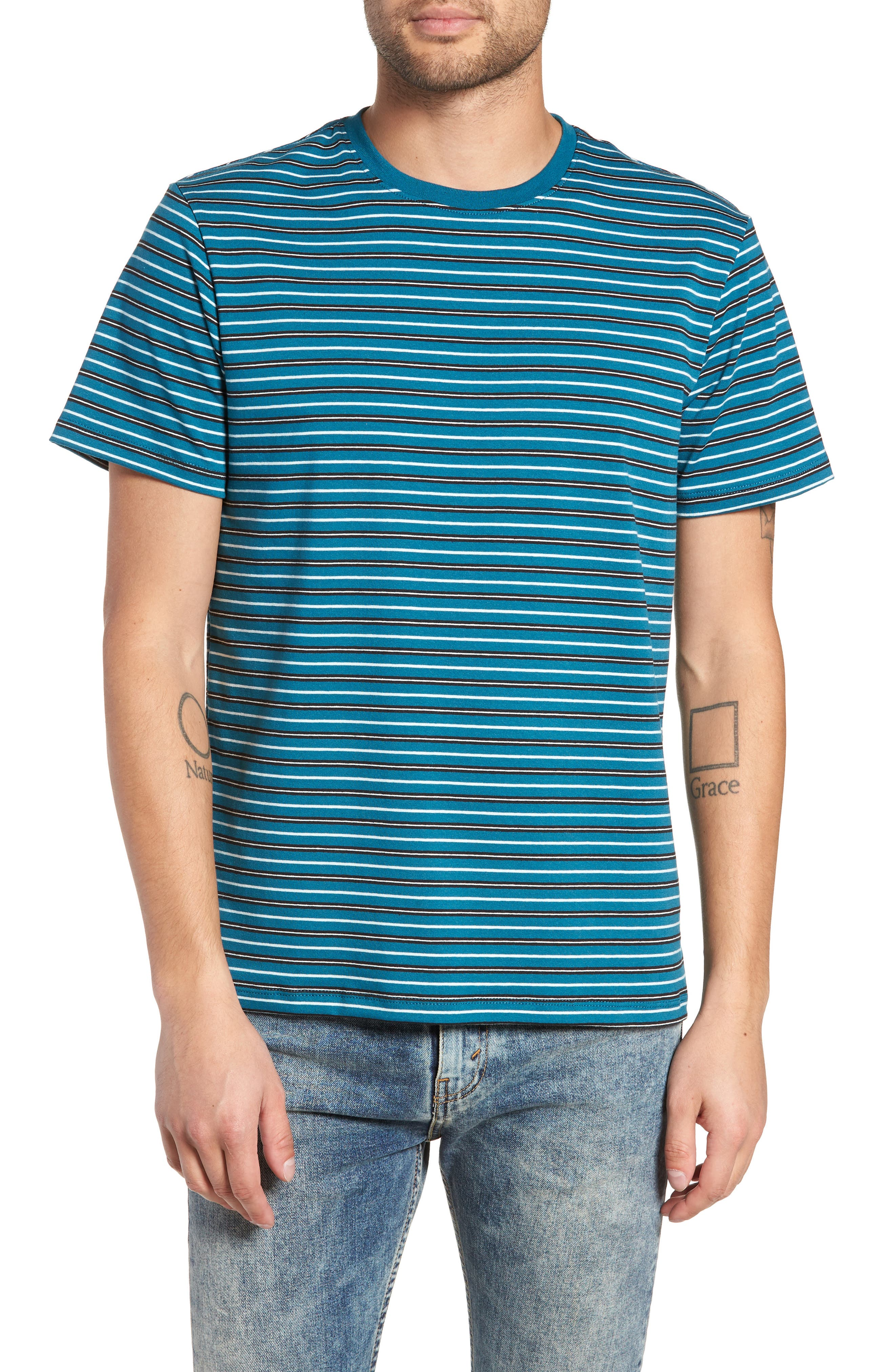 Striped T-Shirt,                         Main,                         color, TEAL GREEN-WHITE STRIPE