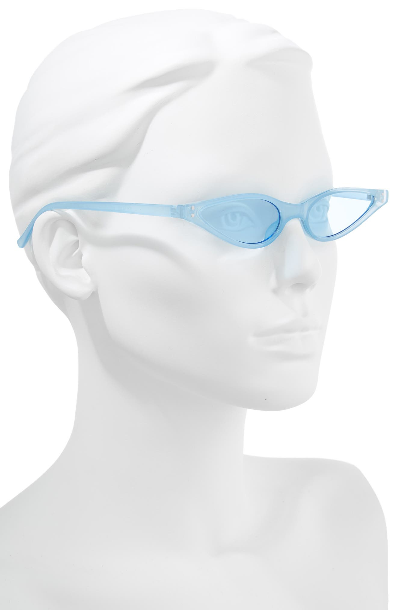 53mm Slim Cat Eye Sunglasses,                             Alternate thumbnail 2, color,                             LIGHT BLUE/ BLUE LENS