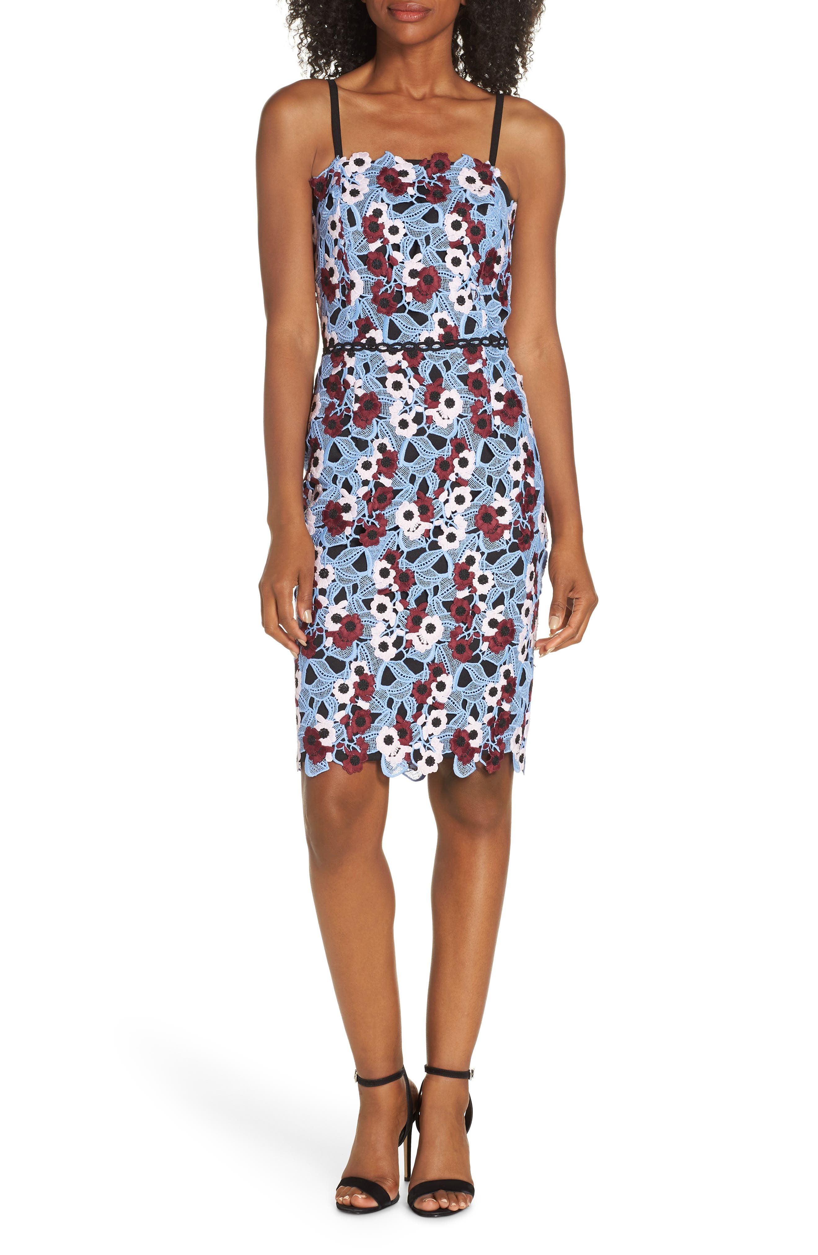 ADELYN RAE Harlow Lace Sheath Dress in Blue-Wine