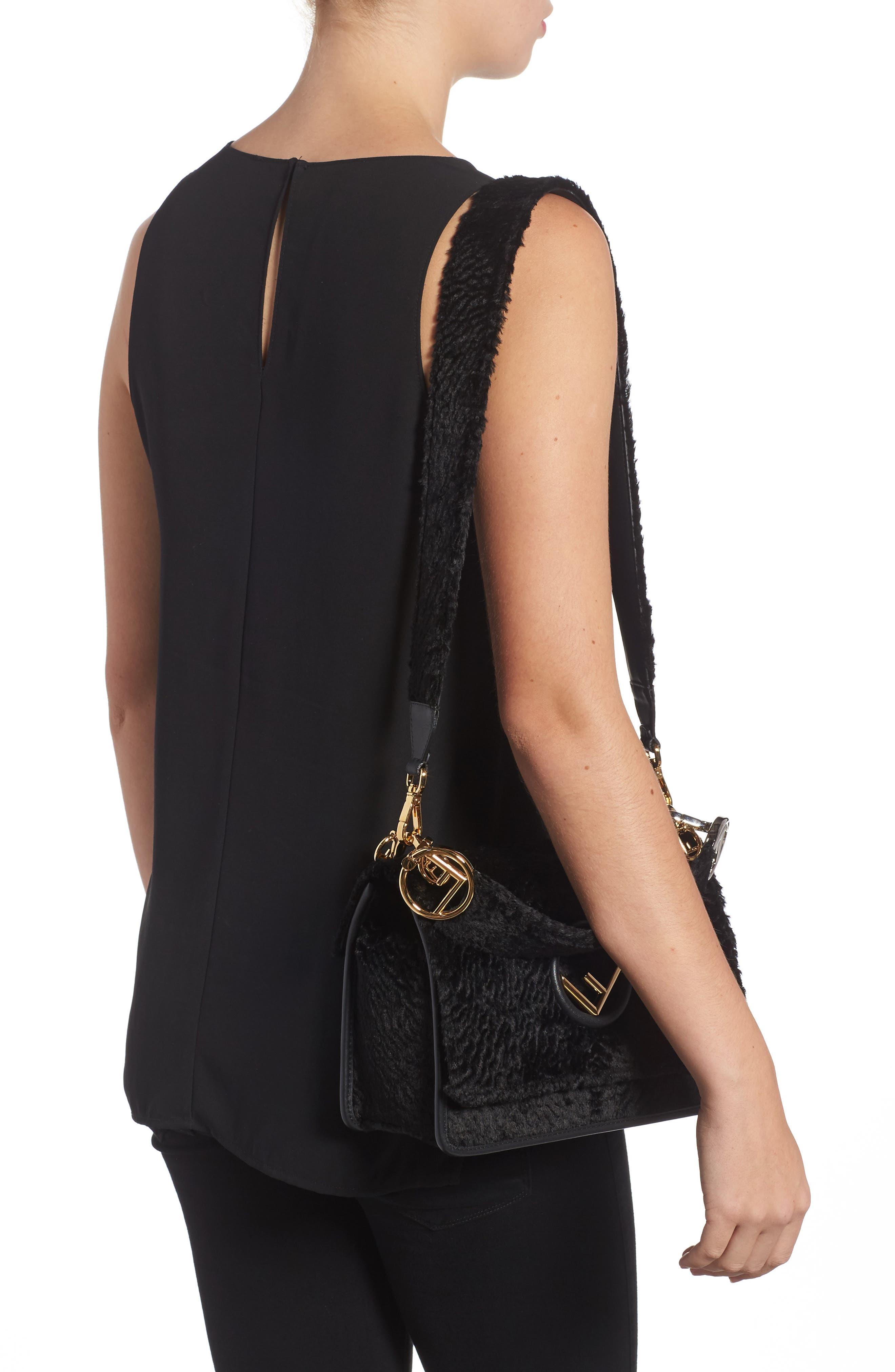 Kan I Logo Velvet Shoulder Bag,                             Alternate thumbnail 2, color,                             BLACK