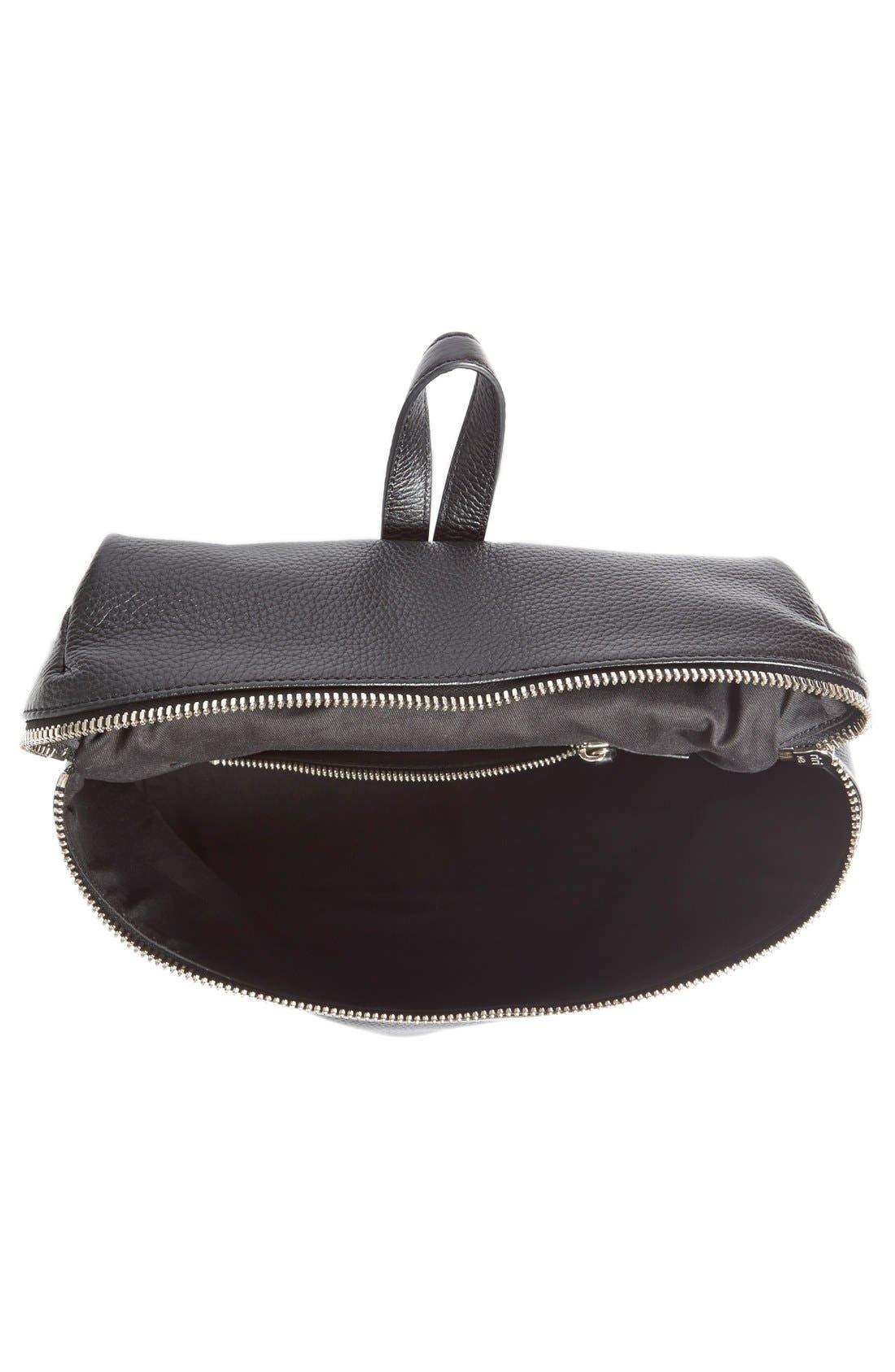 Leather Backpack,                             Alternate thumbnail 9, color,                             BLACK