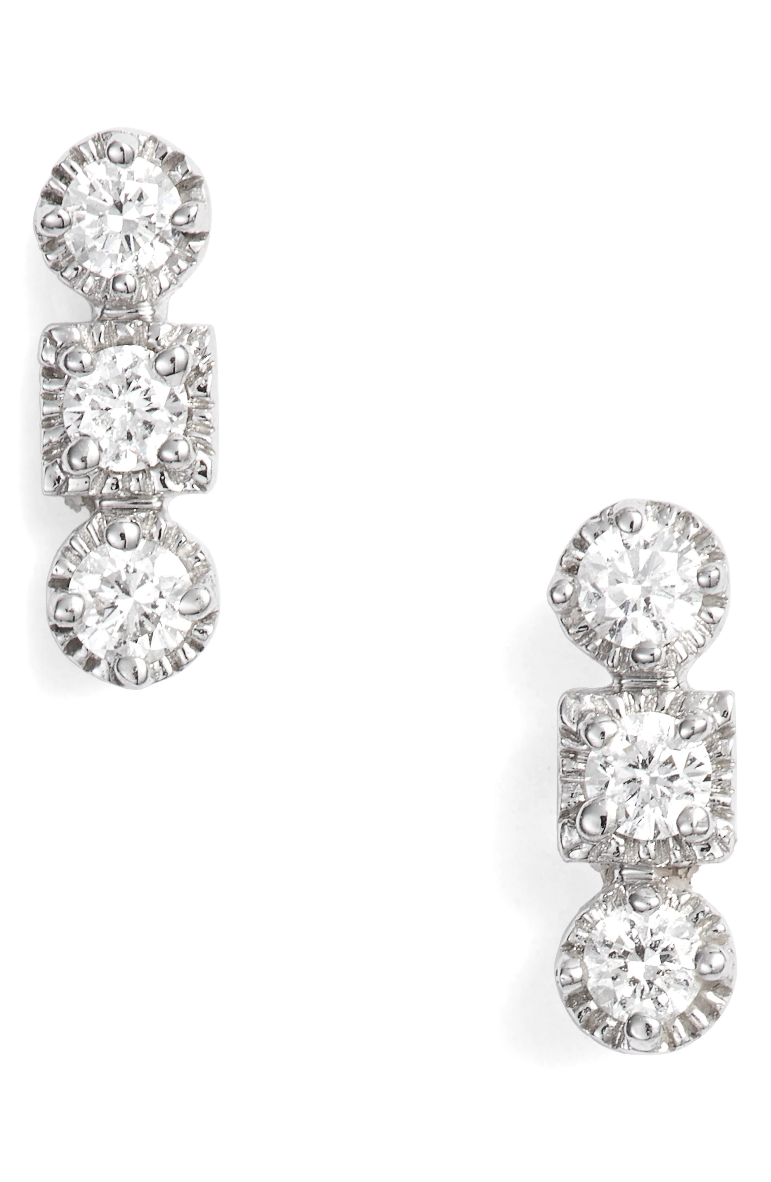 Maya 3-Stone Stud Earrings,                         Main,                         color, WHITE GOLD/ DIAMOND