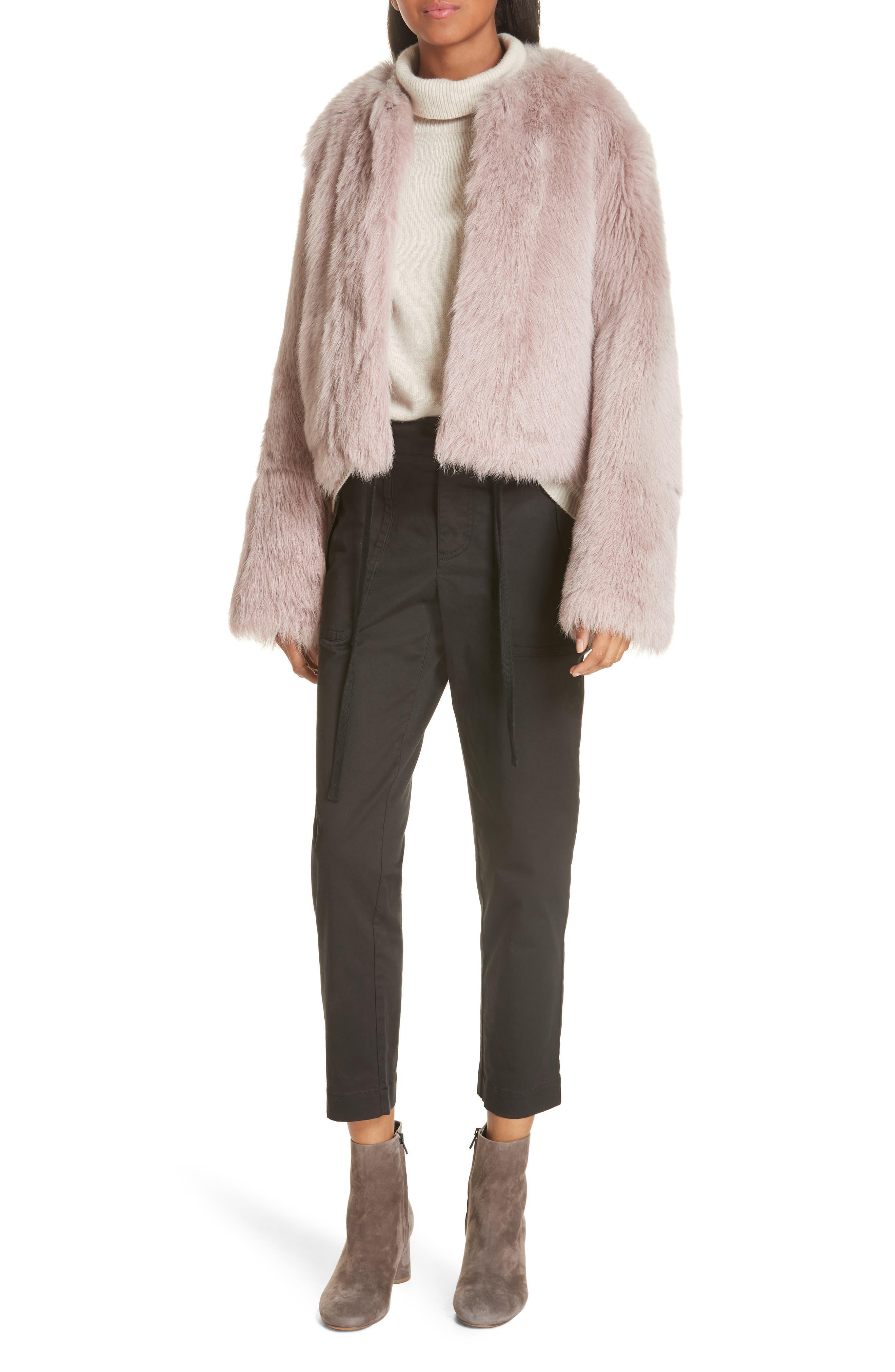 Vince Reversible Genuine Shearling Crop Jacket, Pink