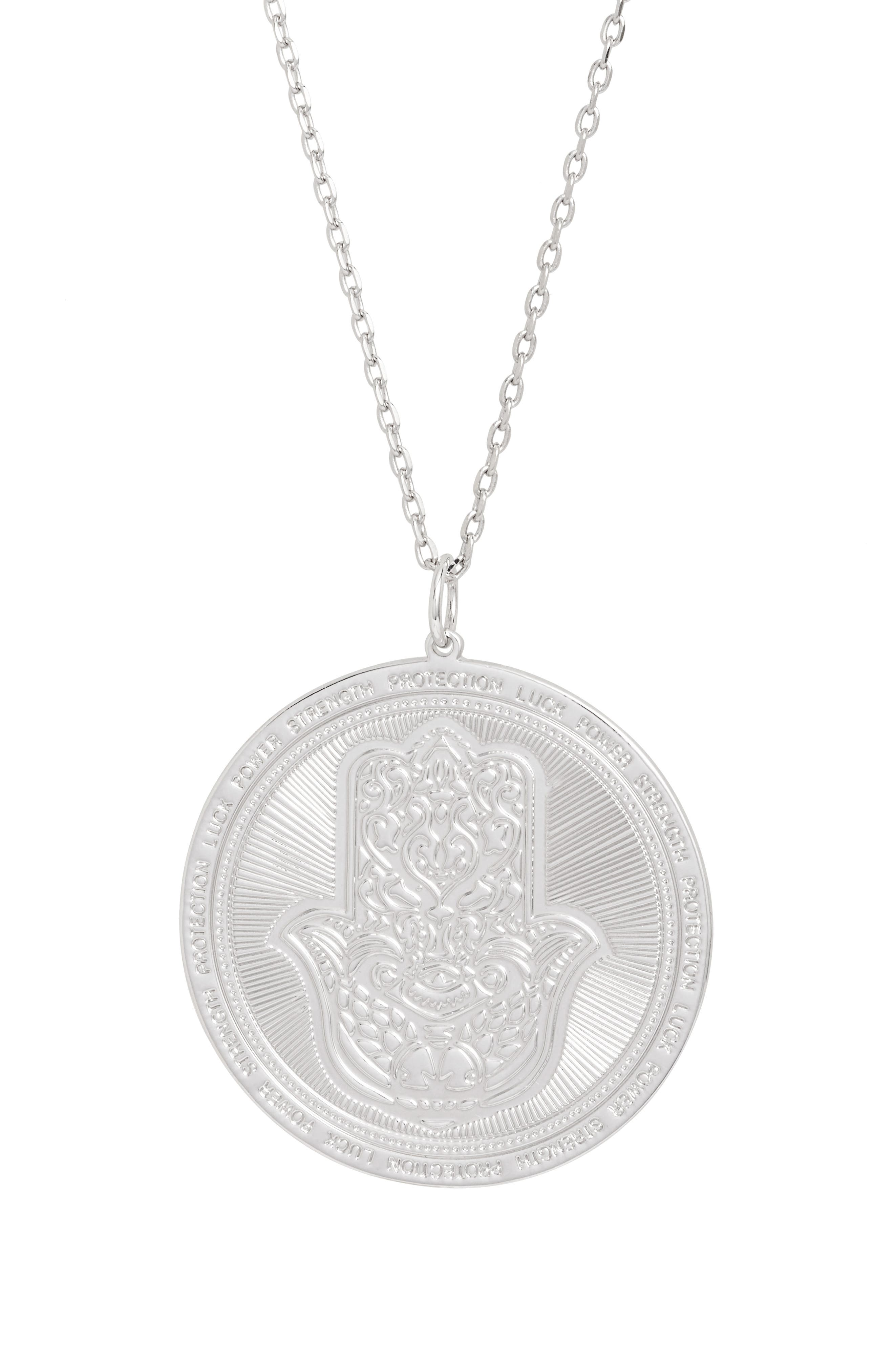 Hamsa Love Letters Pendant Necklace,                             Main thumbnail 1, color,                             046
