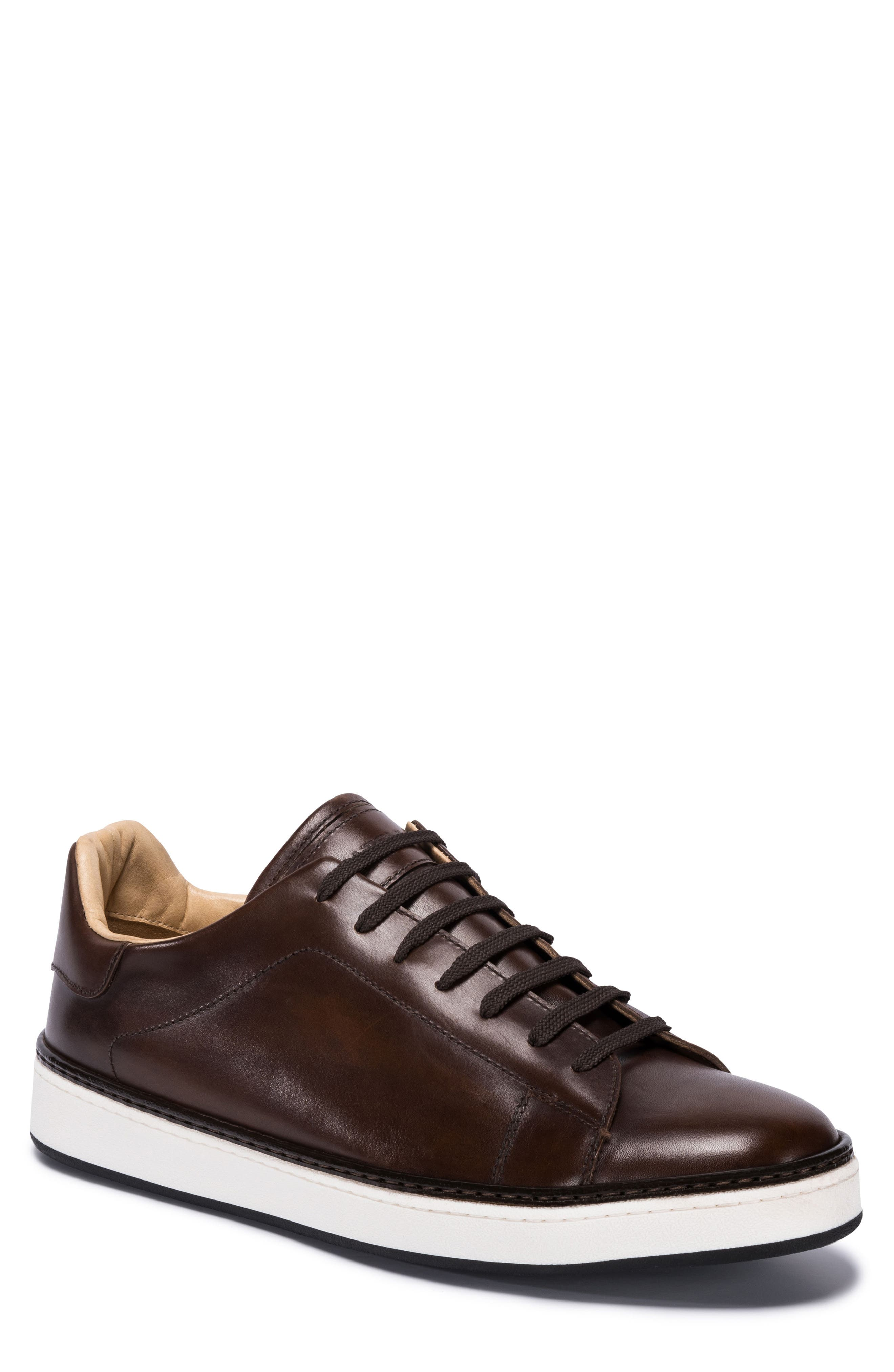 Firenze Low Top Sneaker,                             Main thumbnail 1, color,                             BURGUNDY LEATHER