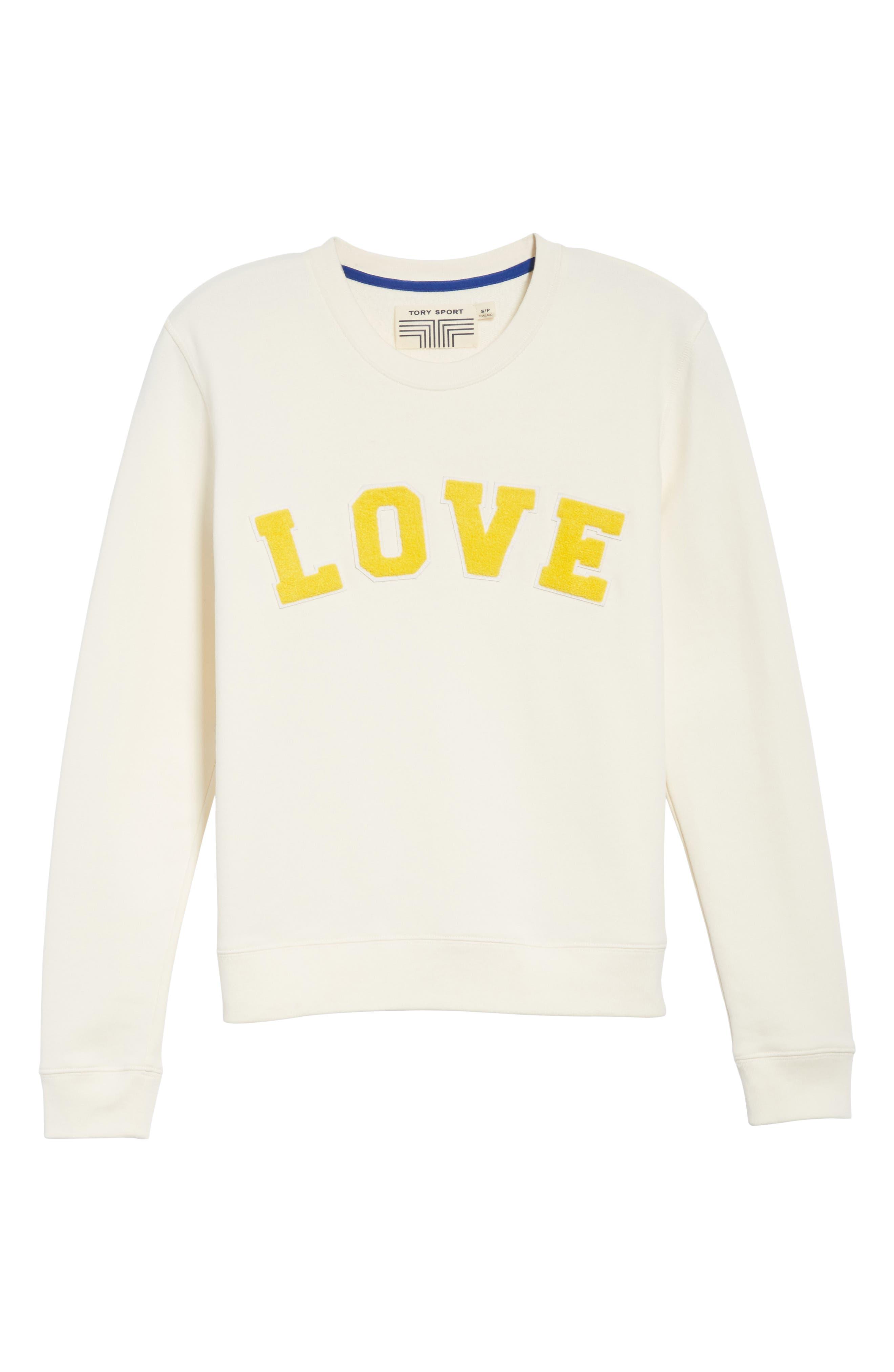 Love Cotton Terry Sweatshirt,                             Alternate thumbnail 6, color,                             IVORY PEARL/ SUNDANCE