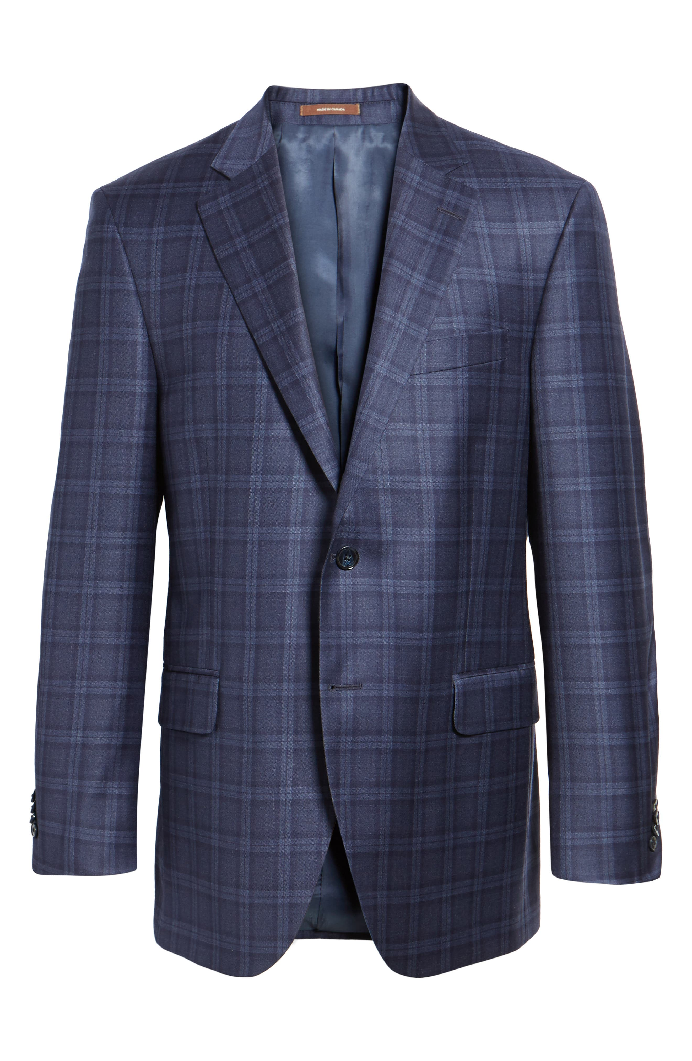 Classic Fit Windowpane Wool Sport Coat,                             Alternate thumbnail 5, color,