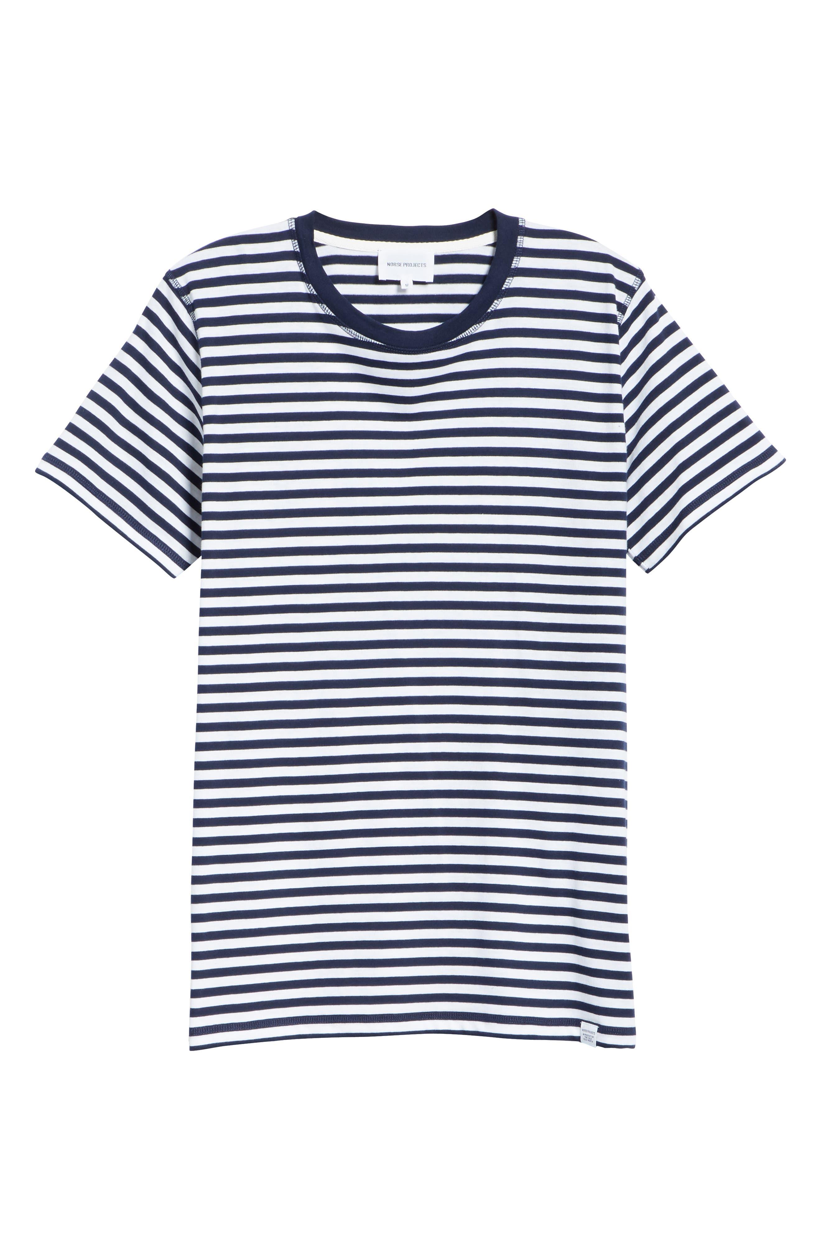 Norse Project Niels Classic Stripe T-Shirt,                             Alternate thumbnail 6, color,                             BLUE