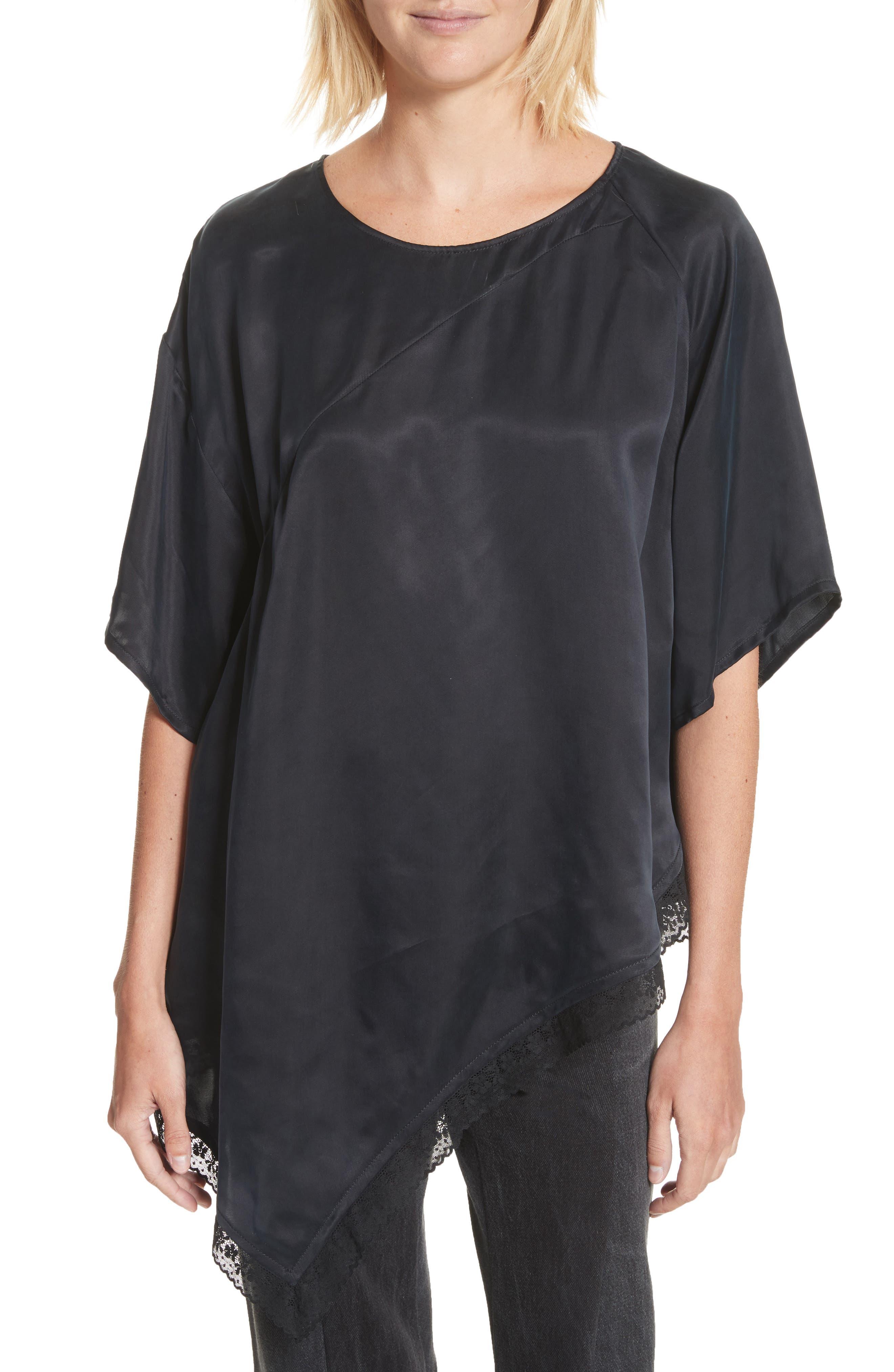 Asymmetrical Lace Trim Satin Top,                         Main,                         color, 001