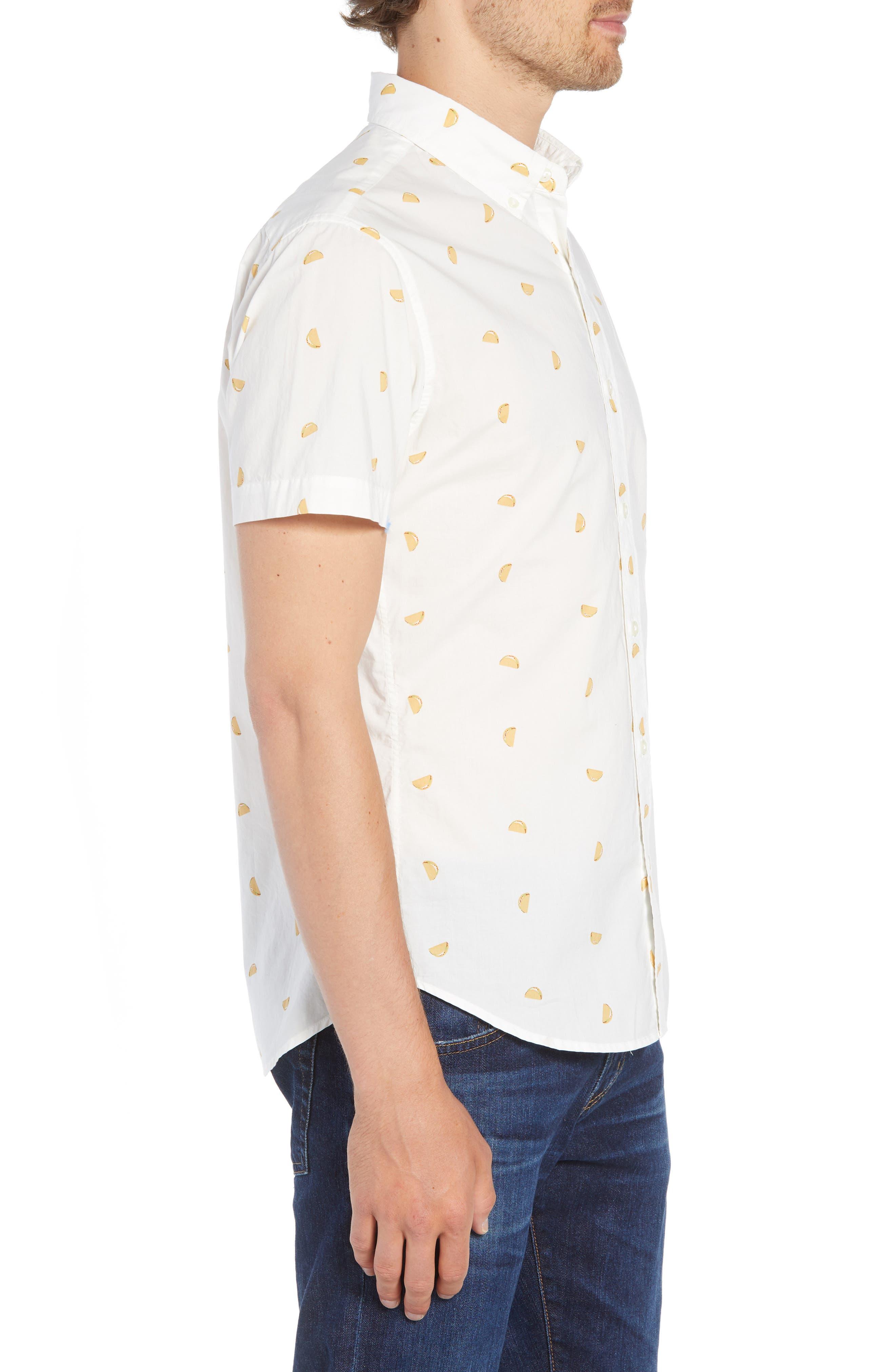 Riviera Slim Fit Taco Print Sport Shirt,                             Alternate thumbnail 3, color,                             TACO TOSS - GOLDEN LOTUS