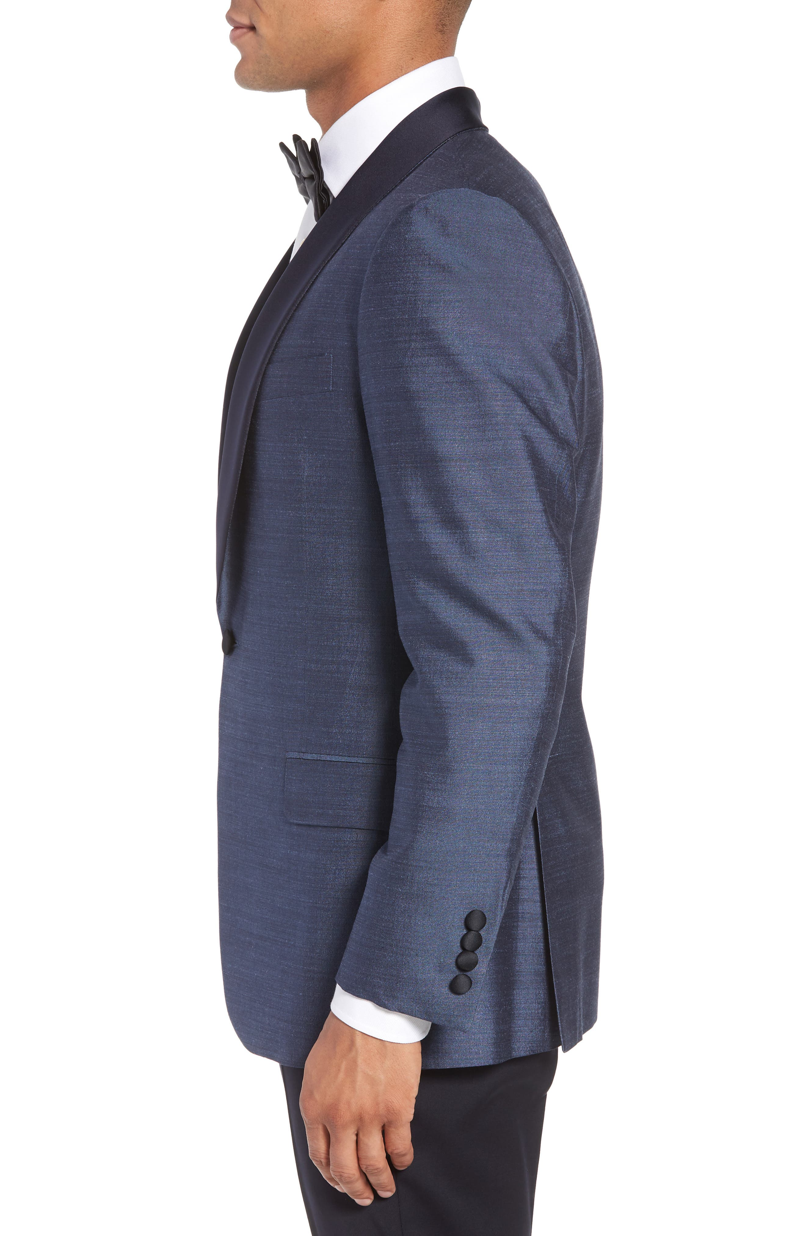 Classic B Fit Silk Dinner Jacket,                             Alternate thumbnail 3, color,                             SLATE BLUE SOLID