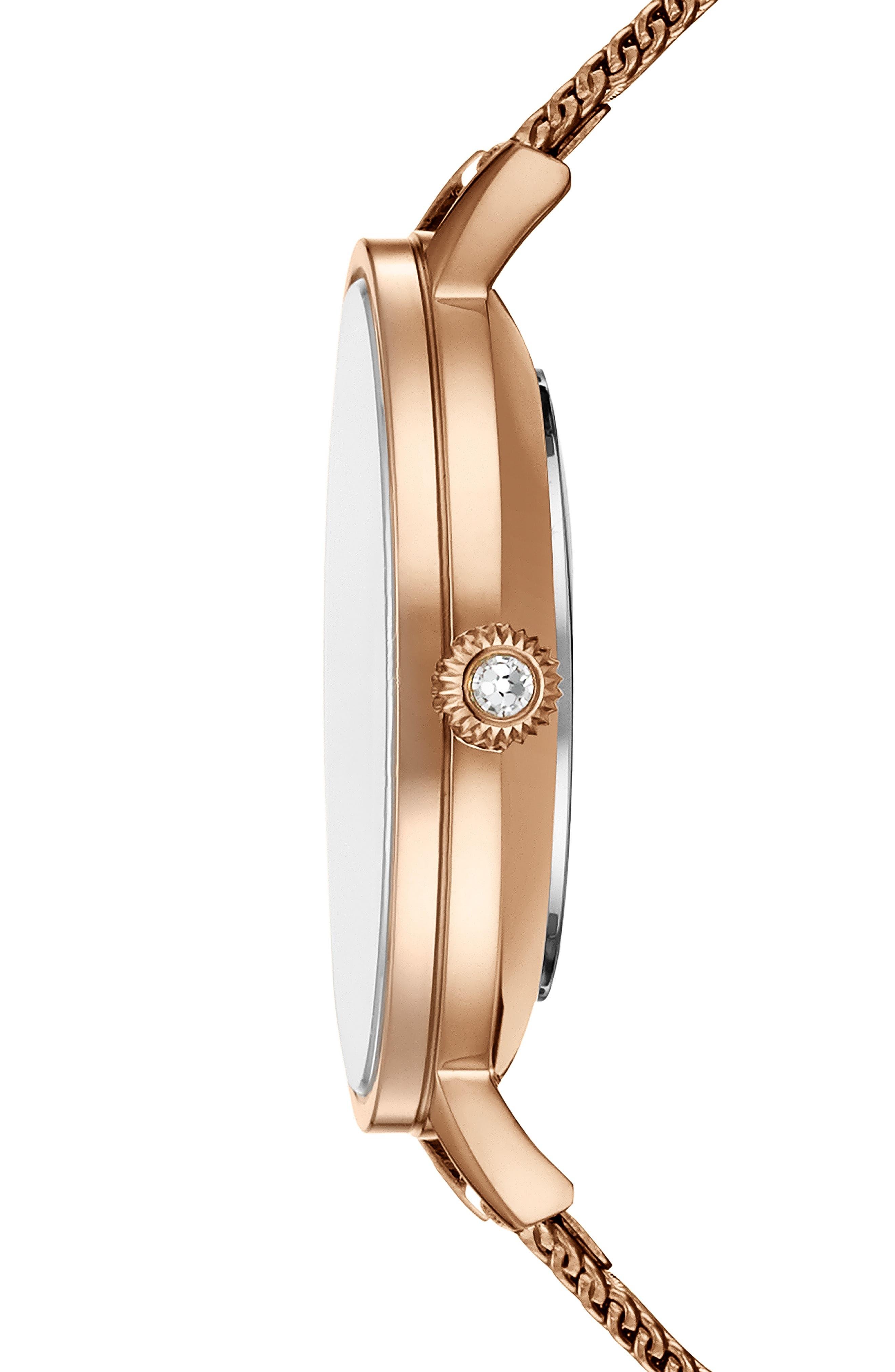 Kate Mesh Strap Watch, 36mm,                             Alternate thumbnail 3, color,                             ROSE GOLD/ FLORAL/ ROSE GOLD