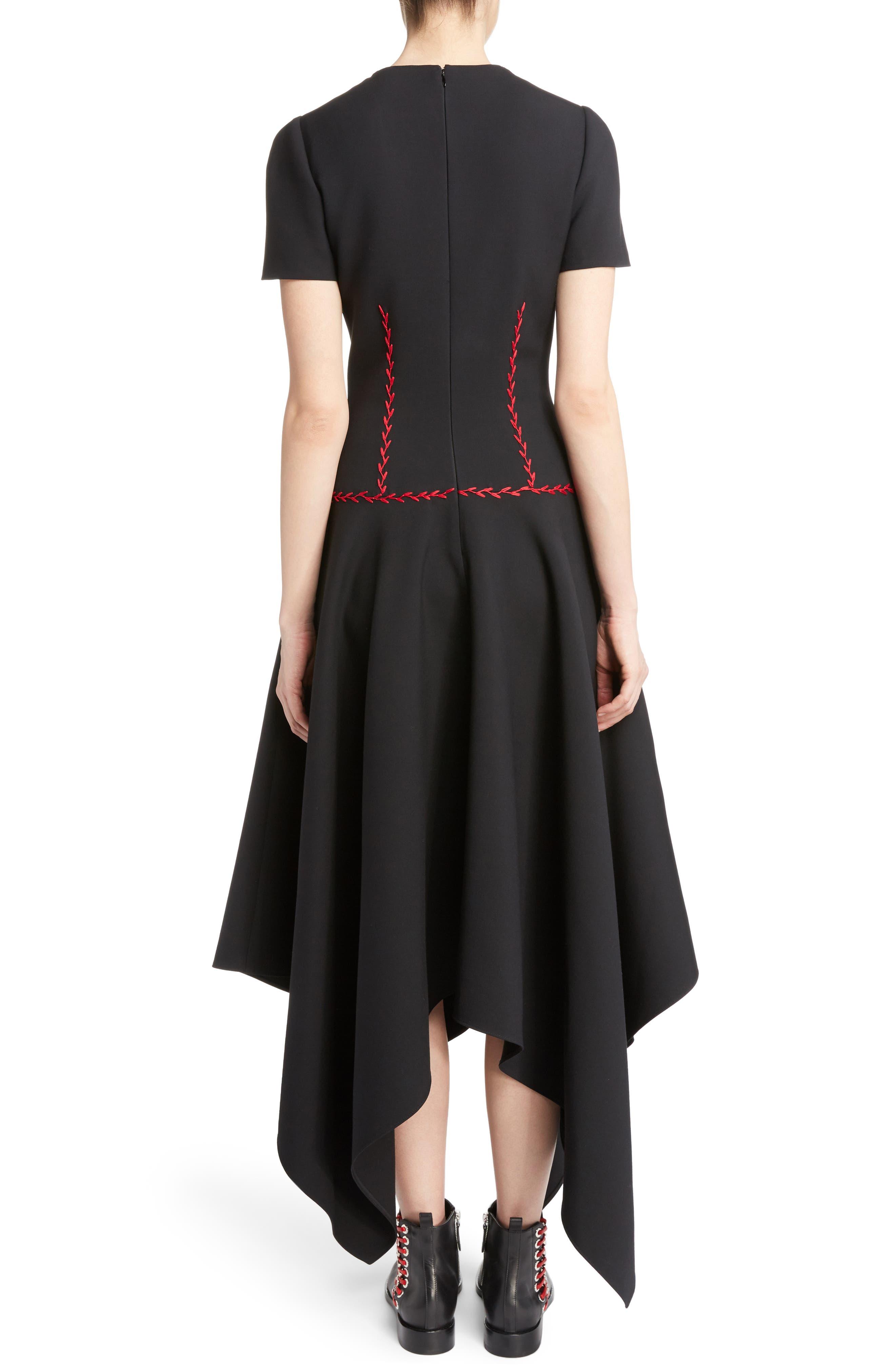 Stitched Handkerchief Hem Dress,                             Alternate thumbnail 2, color,                             001